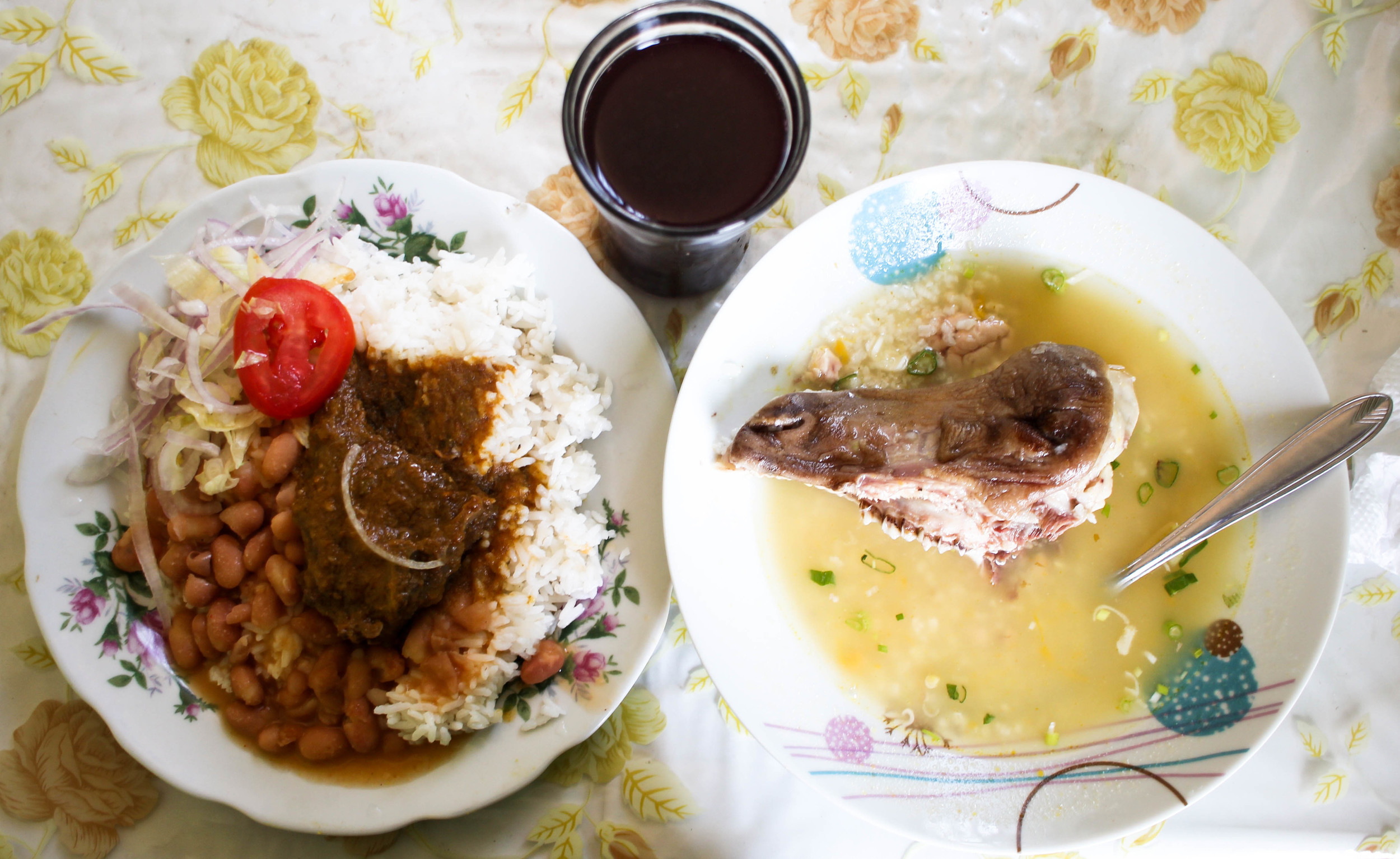 I eat what I am served and this day I was served cabrito (stewed little goat)and caldo de cabeza (soup of head) with a goat head in it!