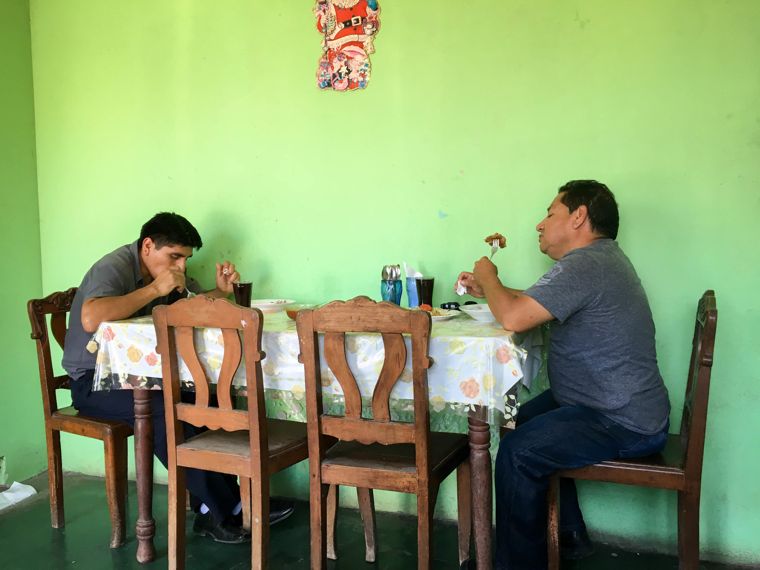 It is a constant ebb and flow of hungry patrons at lunch time in Esperanza's kitchen.