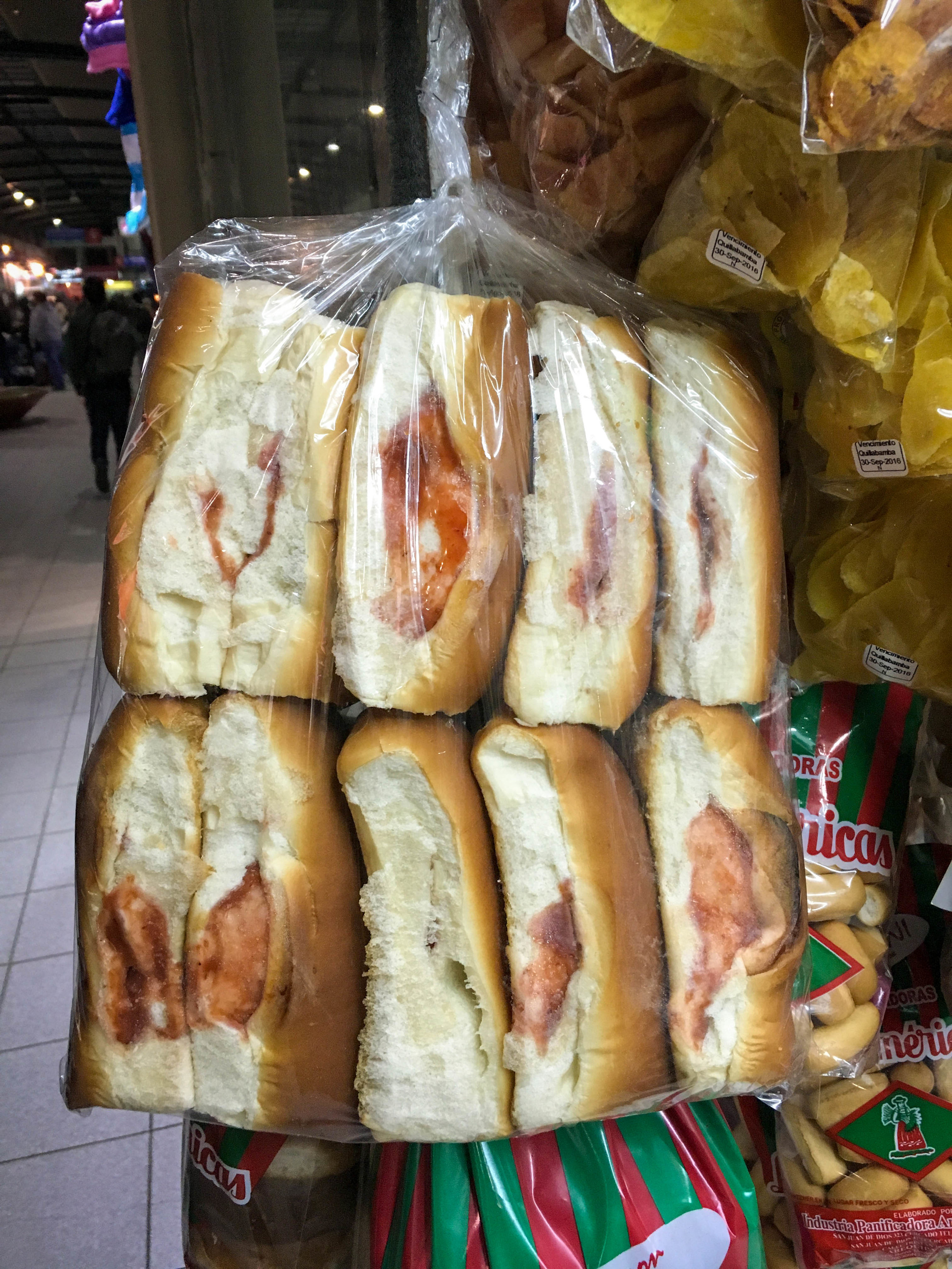 In the bus station, these are for sale. I had to ask the store owner to confirm that it was literally just a white hot dog bun with strawberry jam.