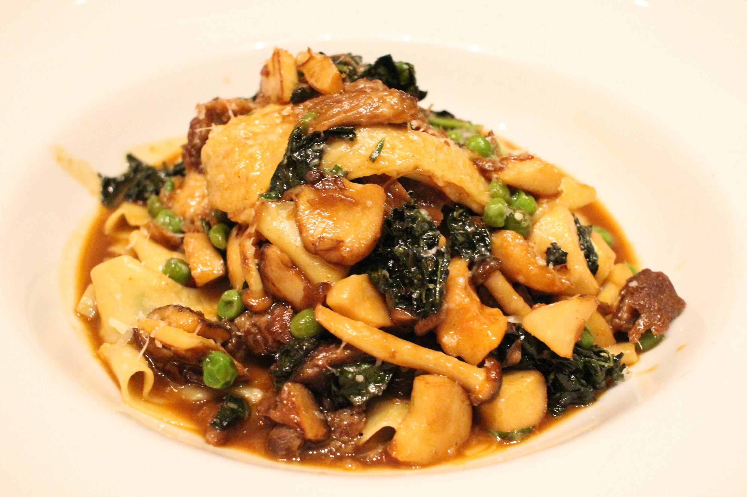 Pappardelle with pork cheeks, peas, kale, brown beech mushrooms, tarragon, pecorino
