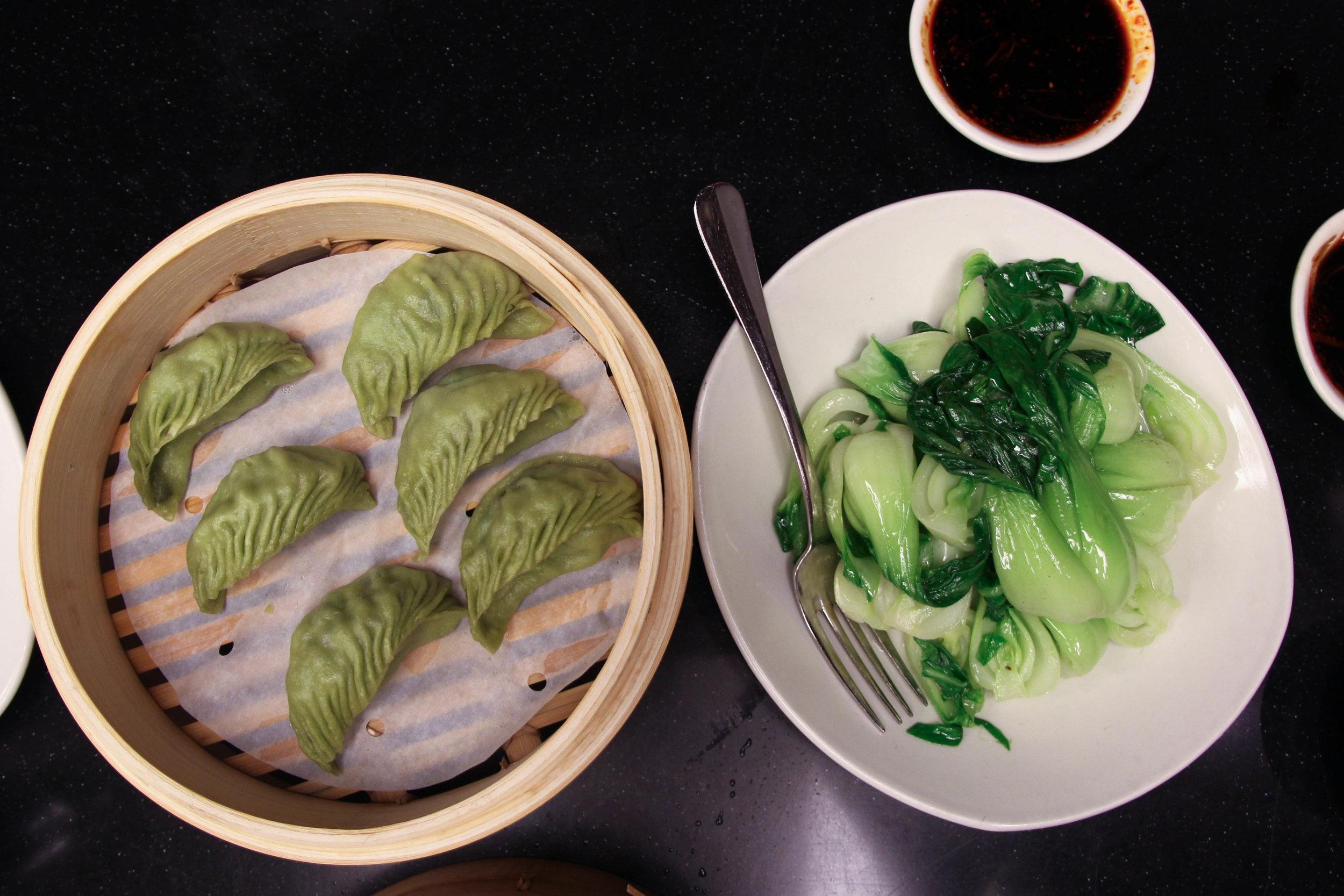 Vegetarian Dumplings and bok choy