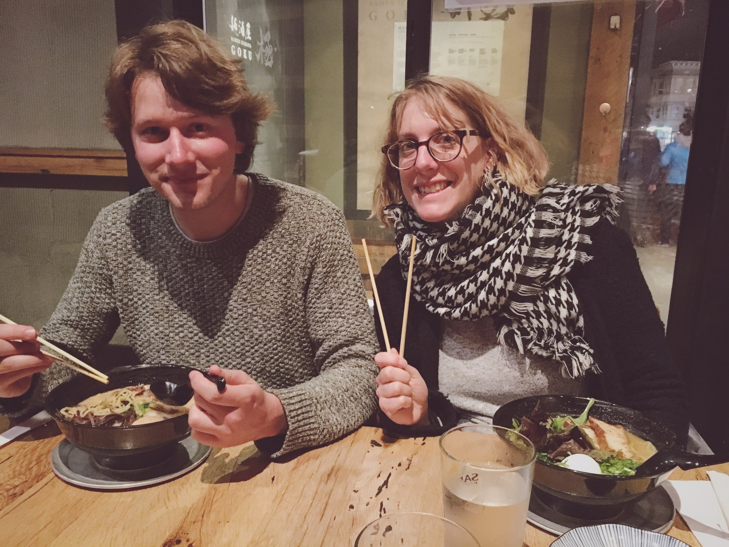 Friends from Munich who are all about that ramen on a cold, wet day in San Francisco.