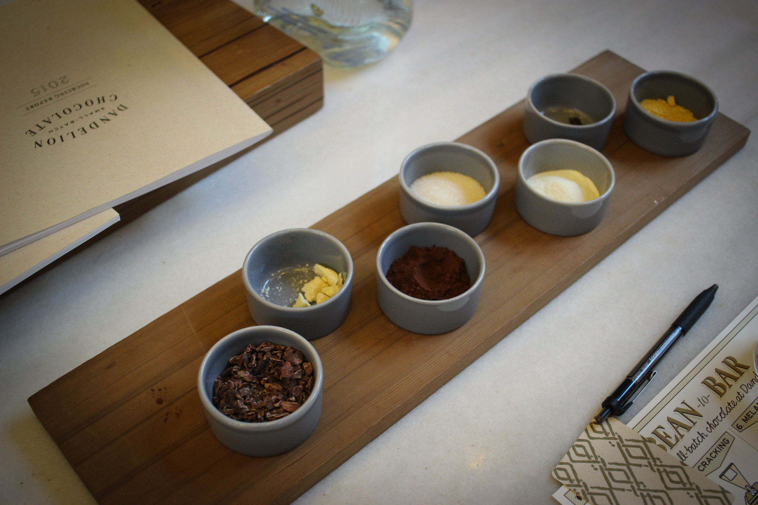 These are the typical ingredients that you will find in various different types of a chocolate bars: nibs, cocoa butter, soy lecithin, cocoa powder, powdered milk, sugar, and vanilla. We did a blind tasting and guessed which of these ingredients we thought was in each of the bars we tasted.