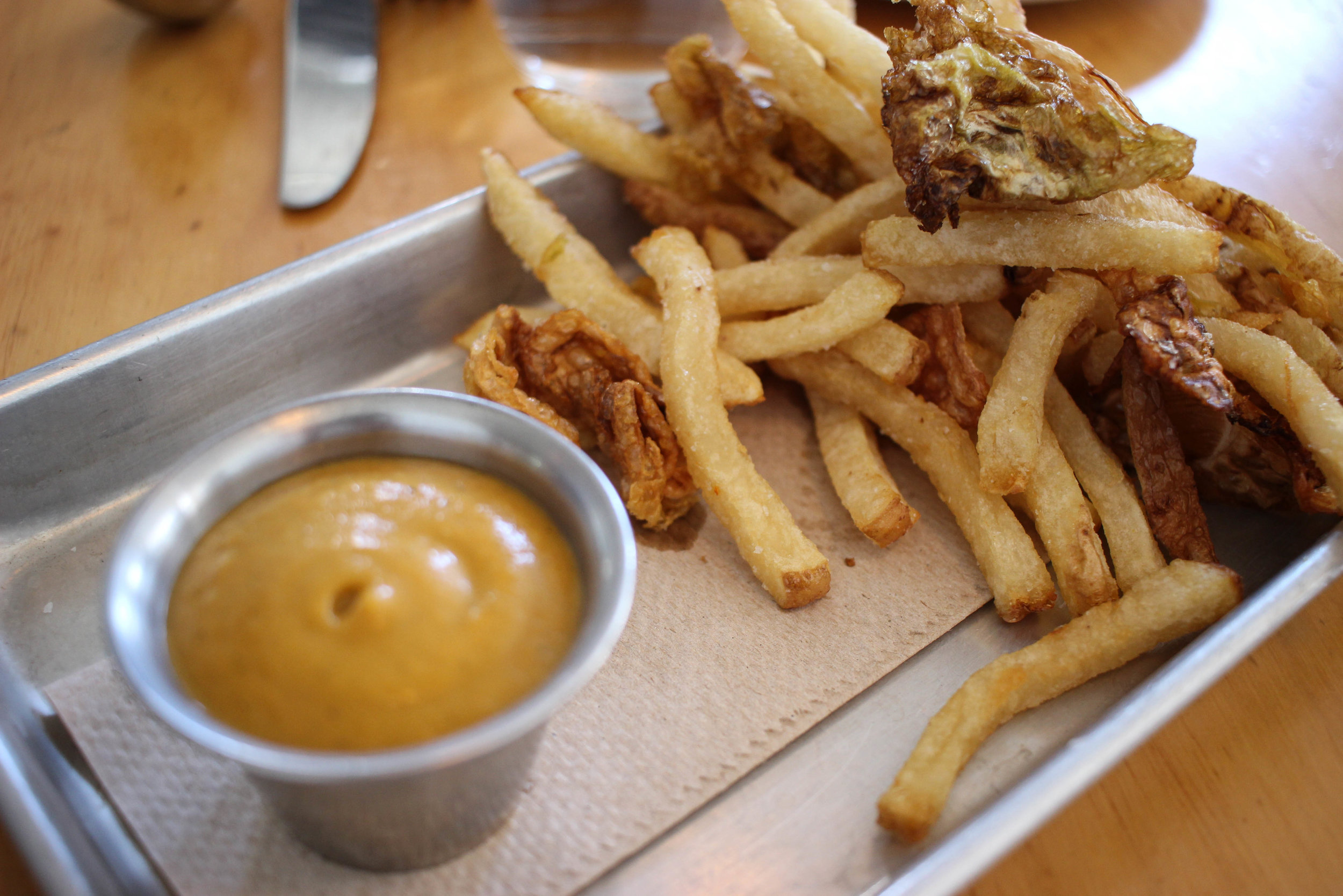 Brine pickled french fries and smoked apple sauce