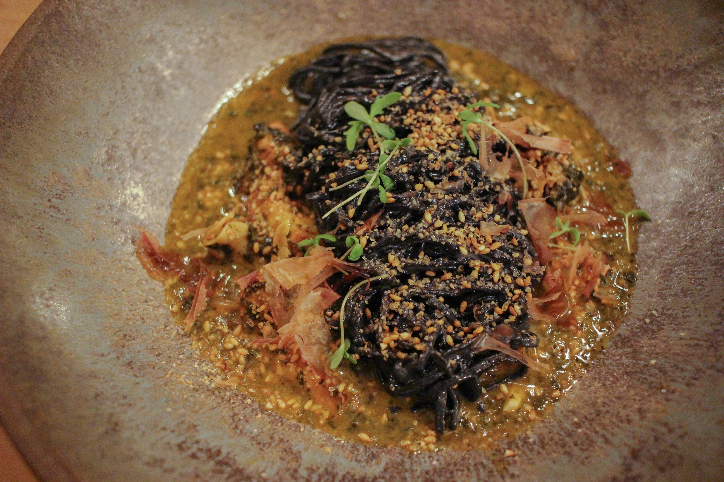 Squid ink noodles chanterelle mushrooms, kale & bonito flakes