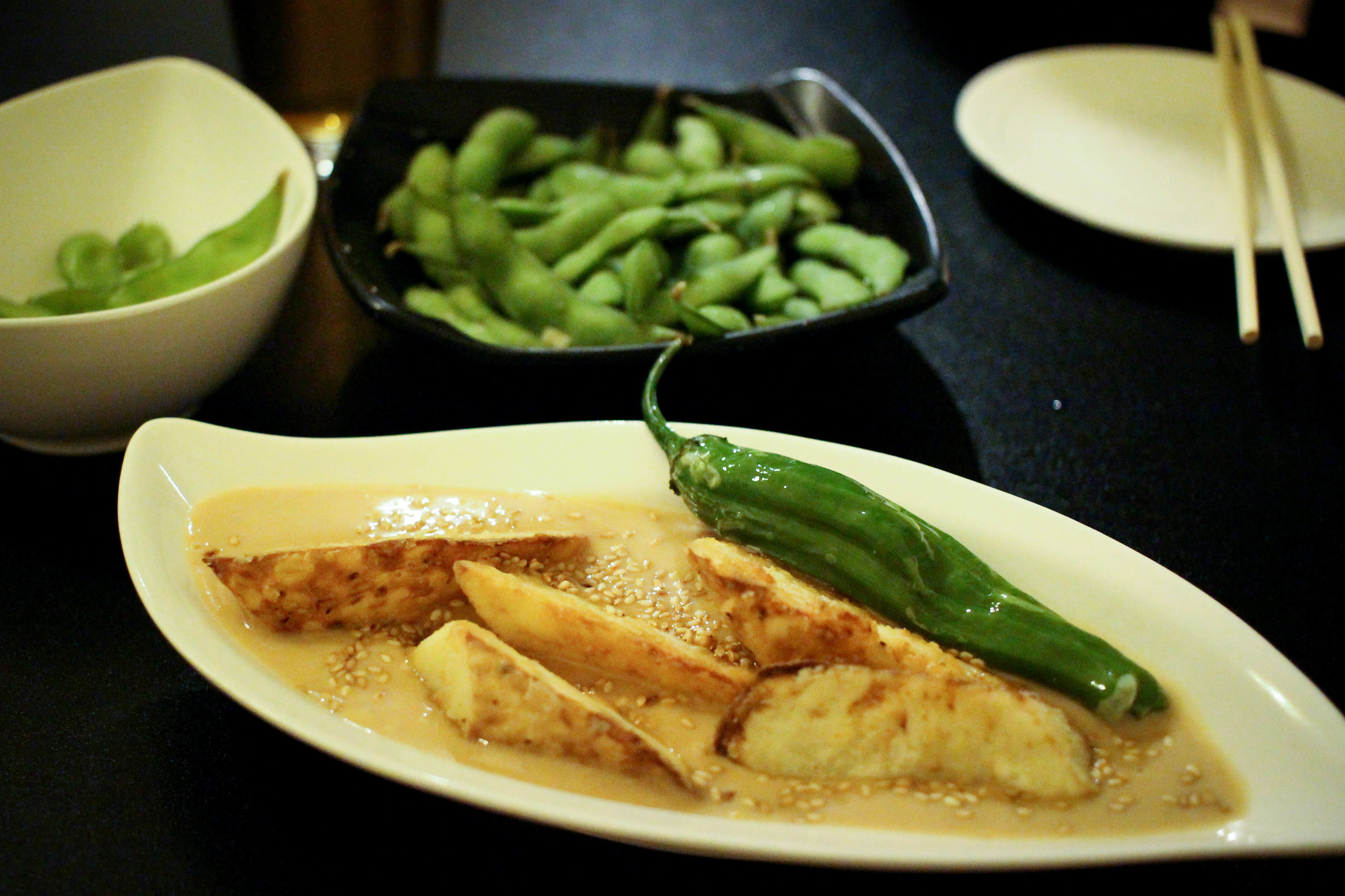 Crispy Fried Yam:naga-imo potato lightly fried w/sesame sauce