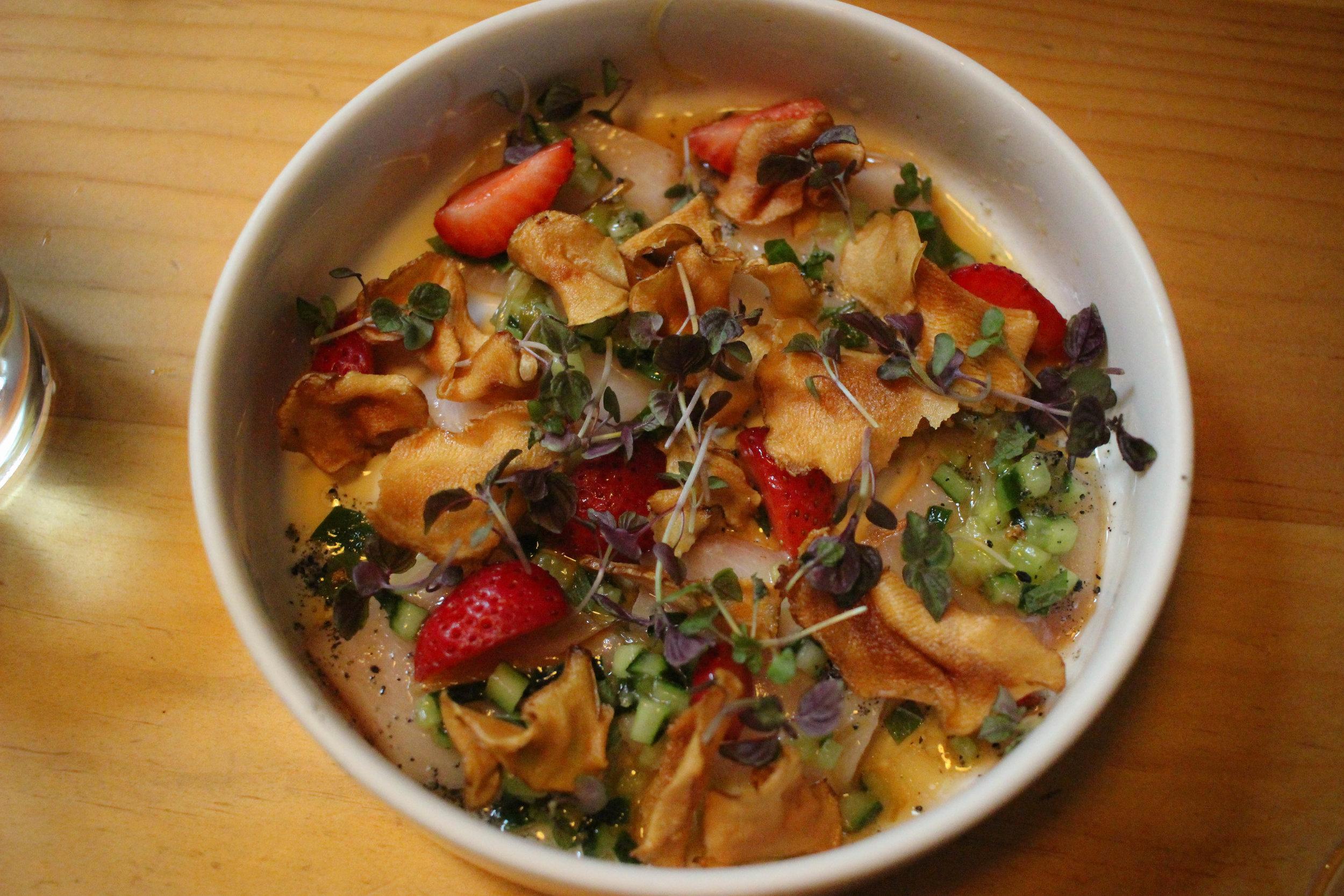 Yellowtail sashimi, shiso, wild strawberries, white soy, crispy sunchokes