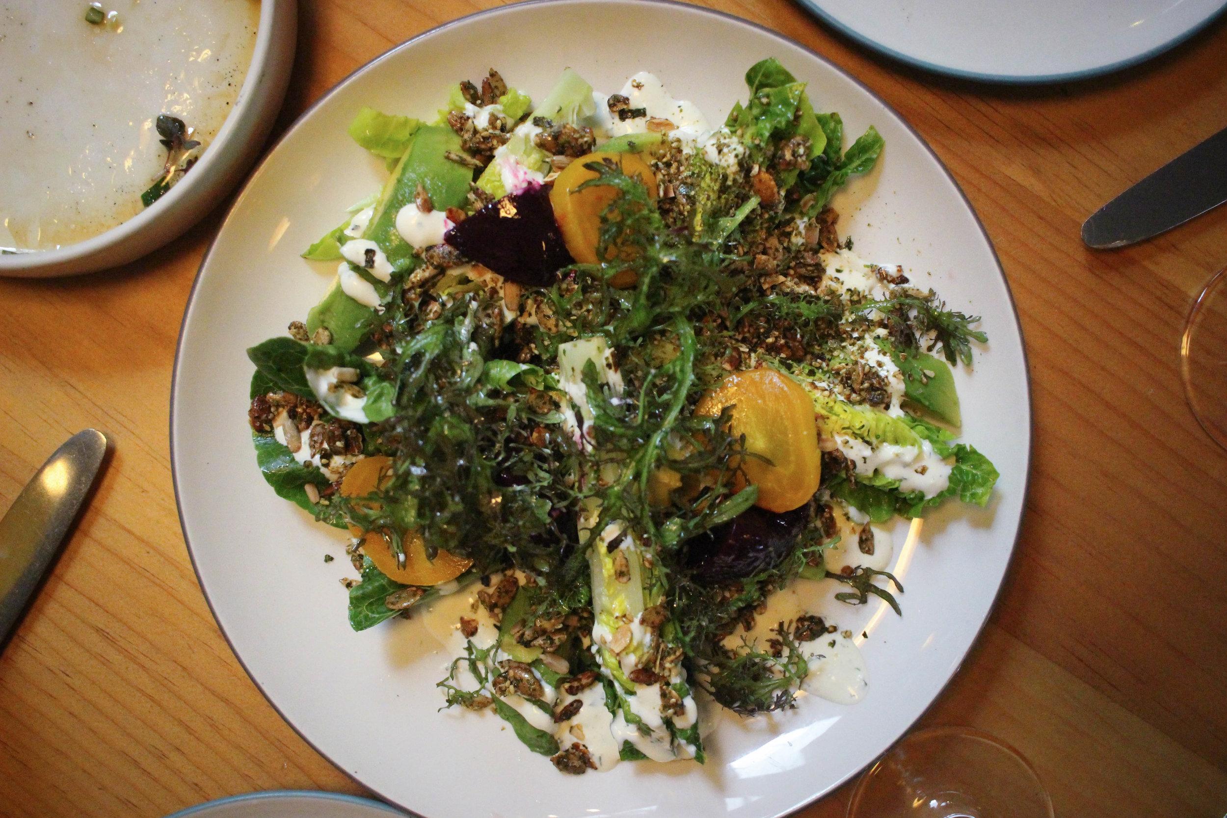 Little gems, brokaw avocado, shiso ranch, formanova beets, furikake crunch