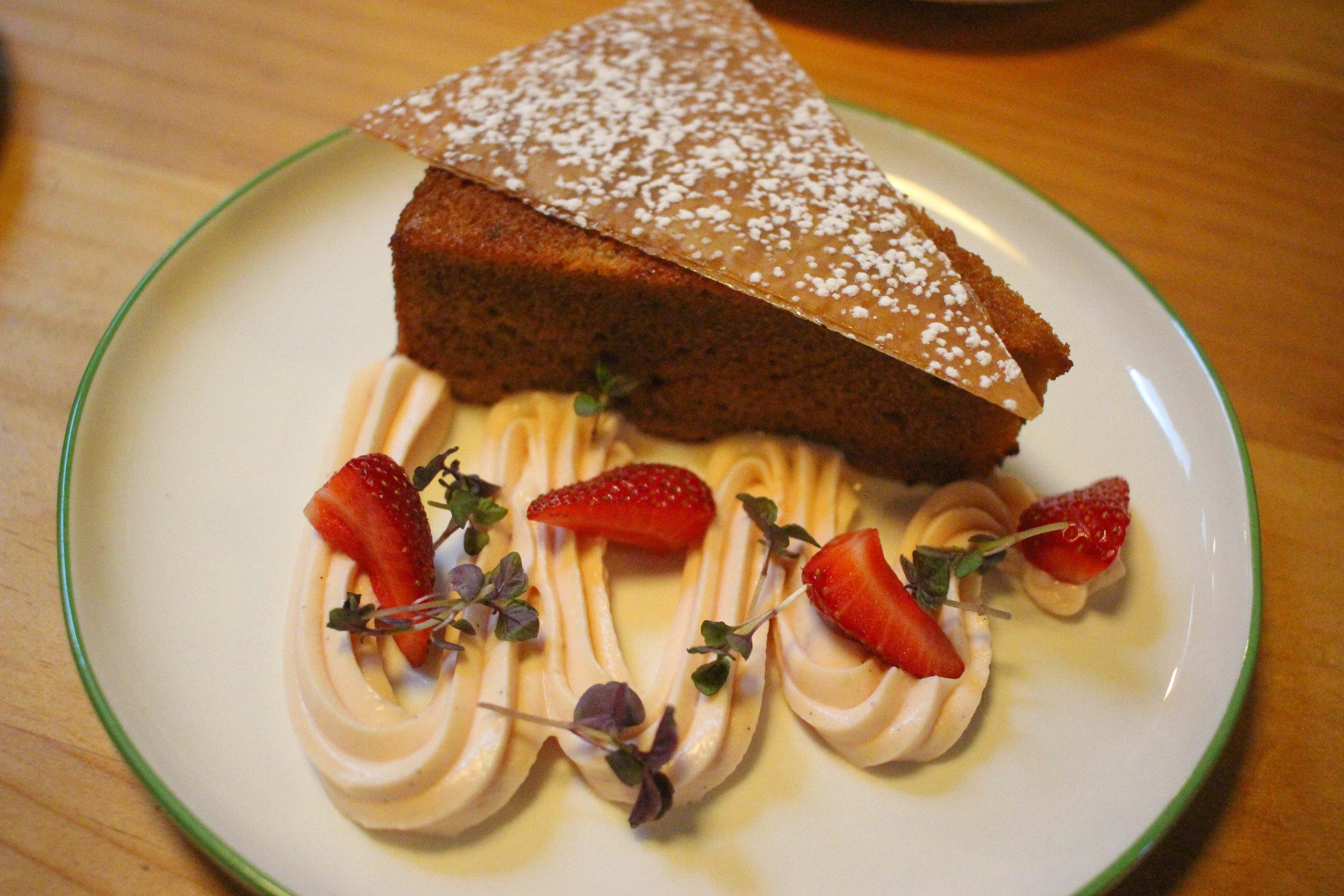 Guava mochi cake, white chocolate buttermilk cream, caramelized phyllo, strawberries
