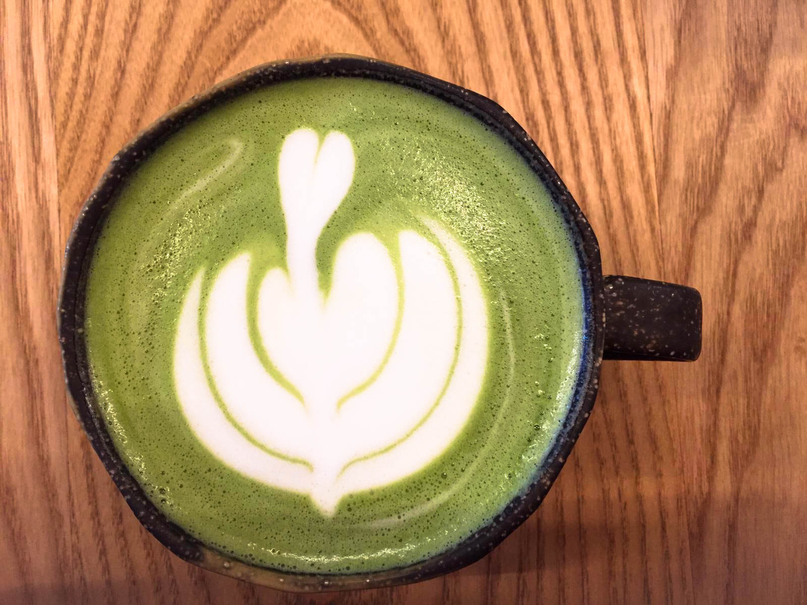 Matcha latte with oat milk