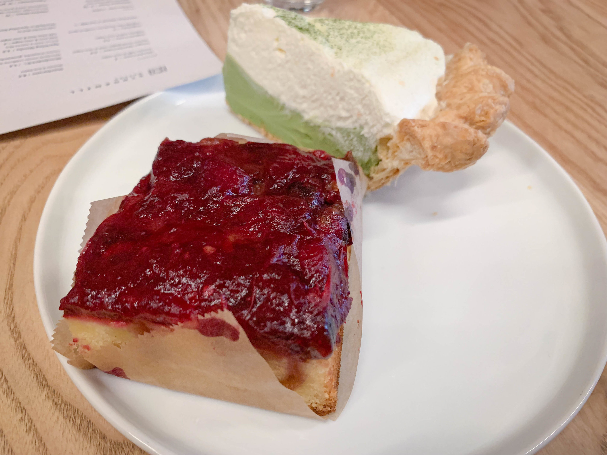 Cranberry coffee cake and matcha cream pie