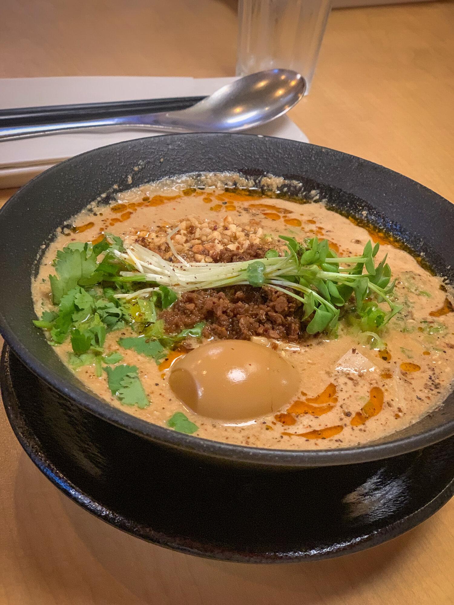Vegan Tantanmen: Vegetable Soup w/ Konbu and Mushrooms, Premium Japanese Soy Cream, Seven Types of Nuts, Sesame, Cilantro