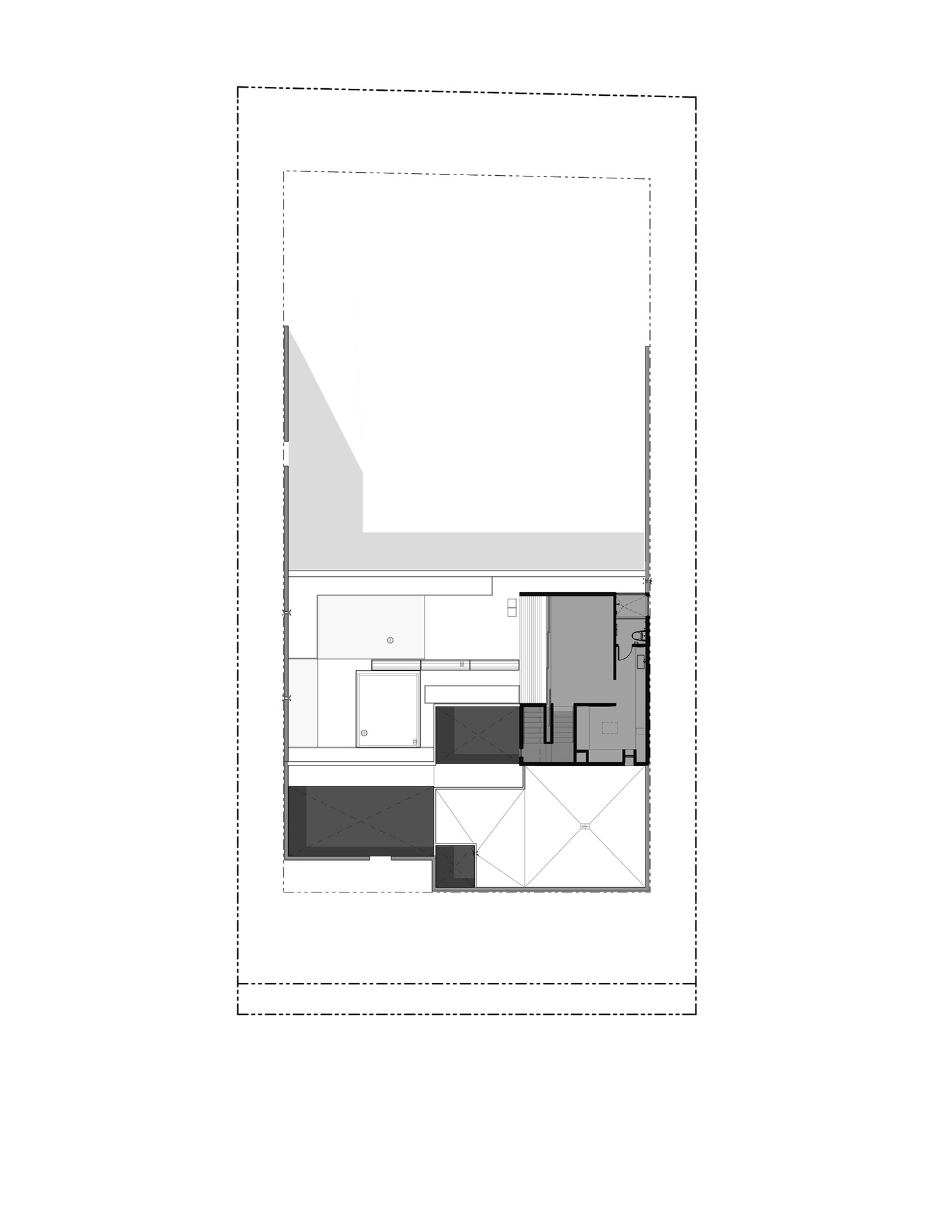 LEVEL 02 - The second story consists exclusively of the master bedroom suite and a walk-out, landscaped green roof. Atriums open to the koi ponds and rock gardens below
