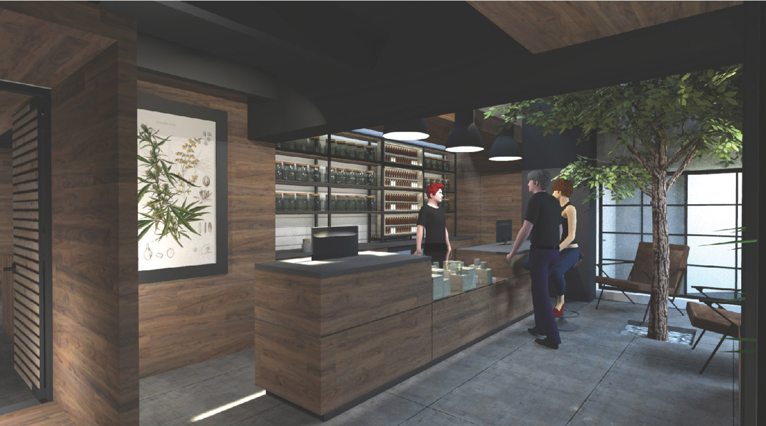 Modern cannabis dispensary design and retail experience. Customers interact with immersive architecture, design, and art.