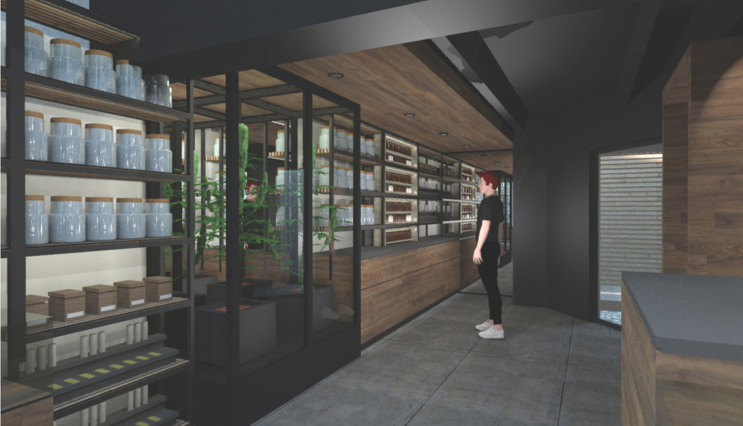 Modern cannabis dispensary design and retail experience. Customers interact with curated product displays and educational museum-quality exhibits. Cannabis plants are showcased in custom infinity mirror, experiential installations