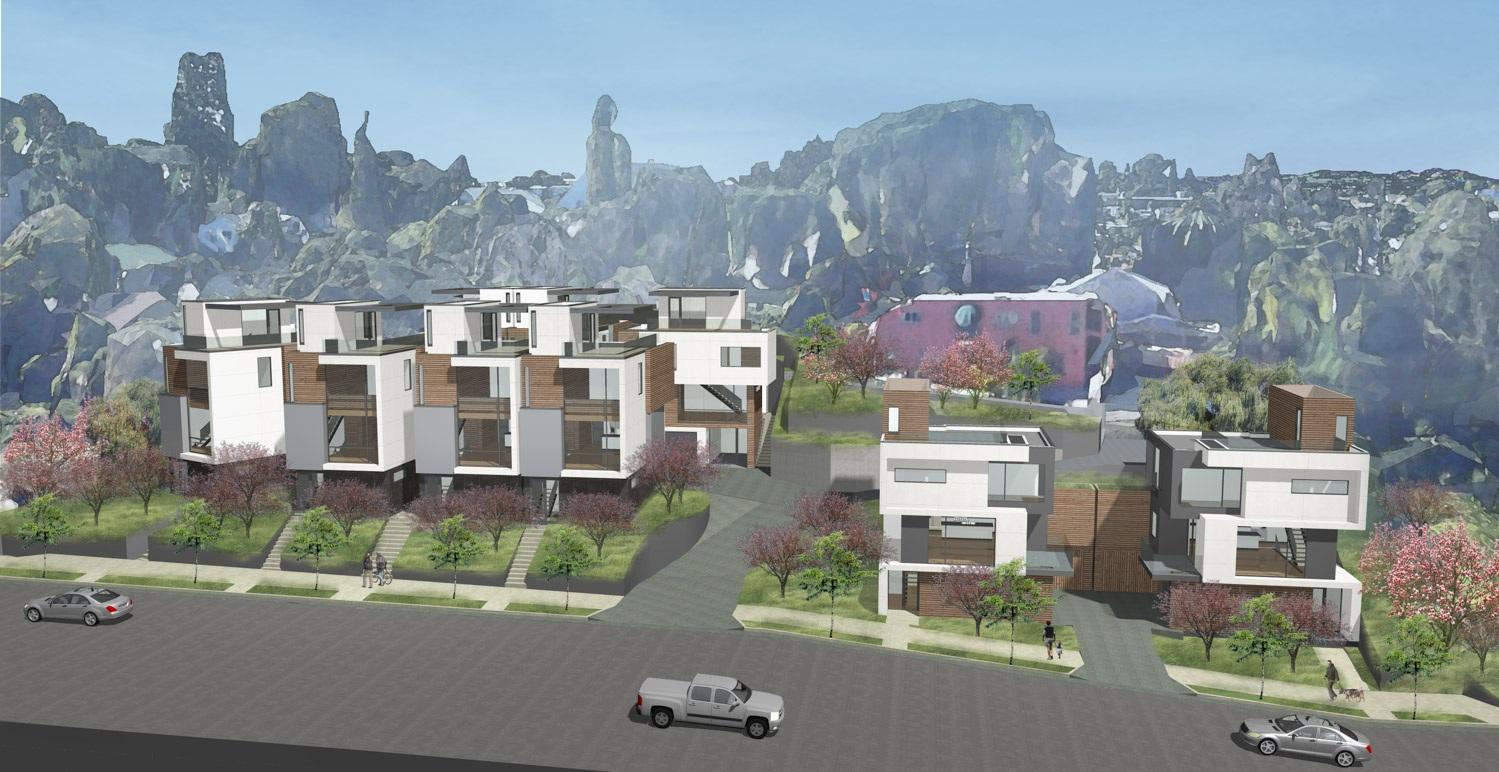 SL.09 Small Lot Subdivision preliminary concept design in the Los Angeles by Hunter Leggitt Studio. Silverlake Real Estate Development.