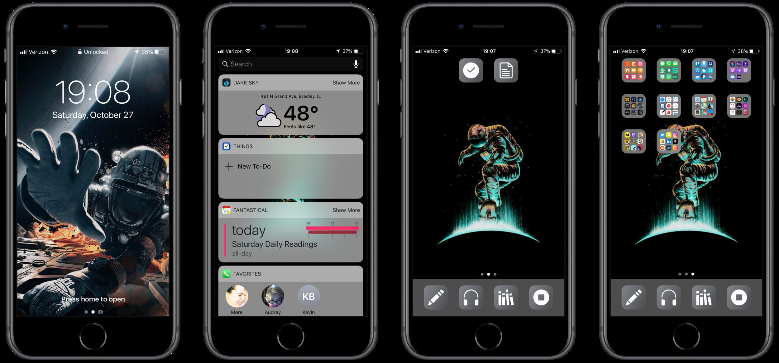 Lock Screen, Widget Screen, Home Screen, Secondary Screen
