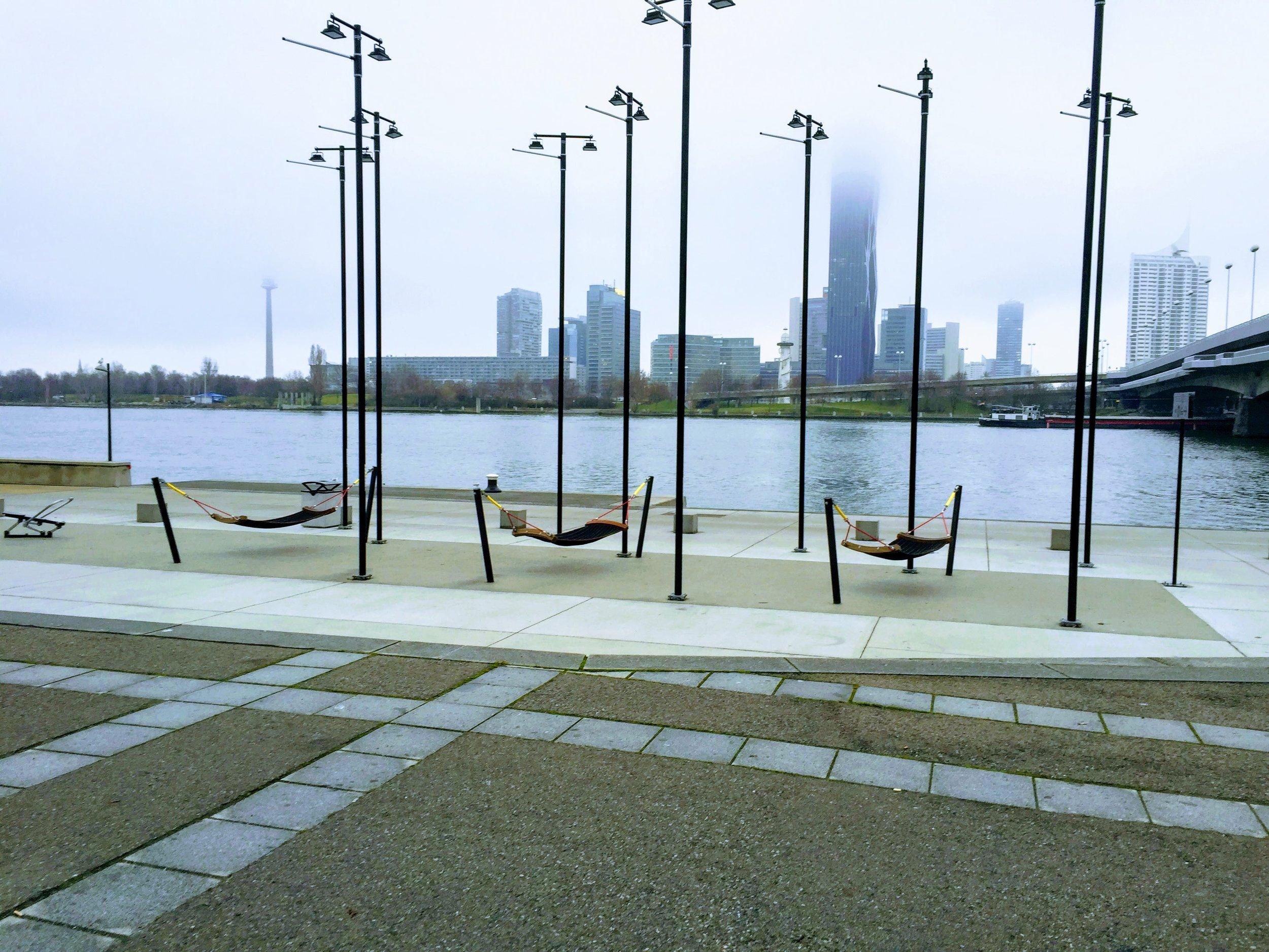 Love seeing these hammocks by the river // Vienna, Austria