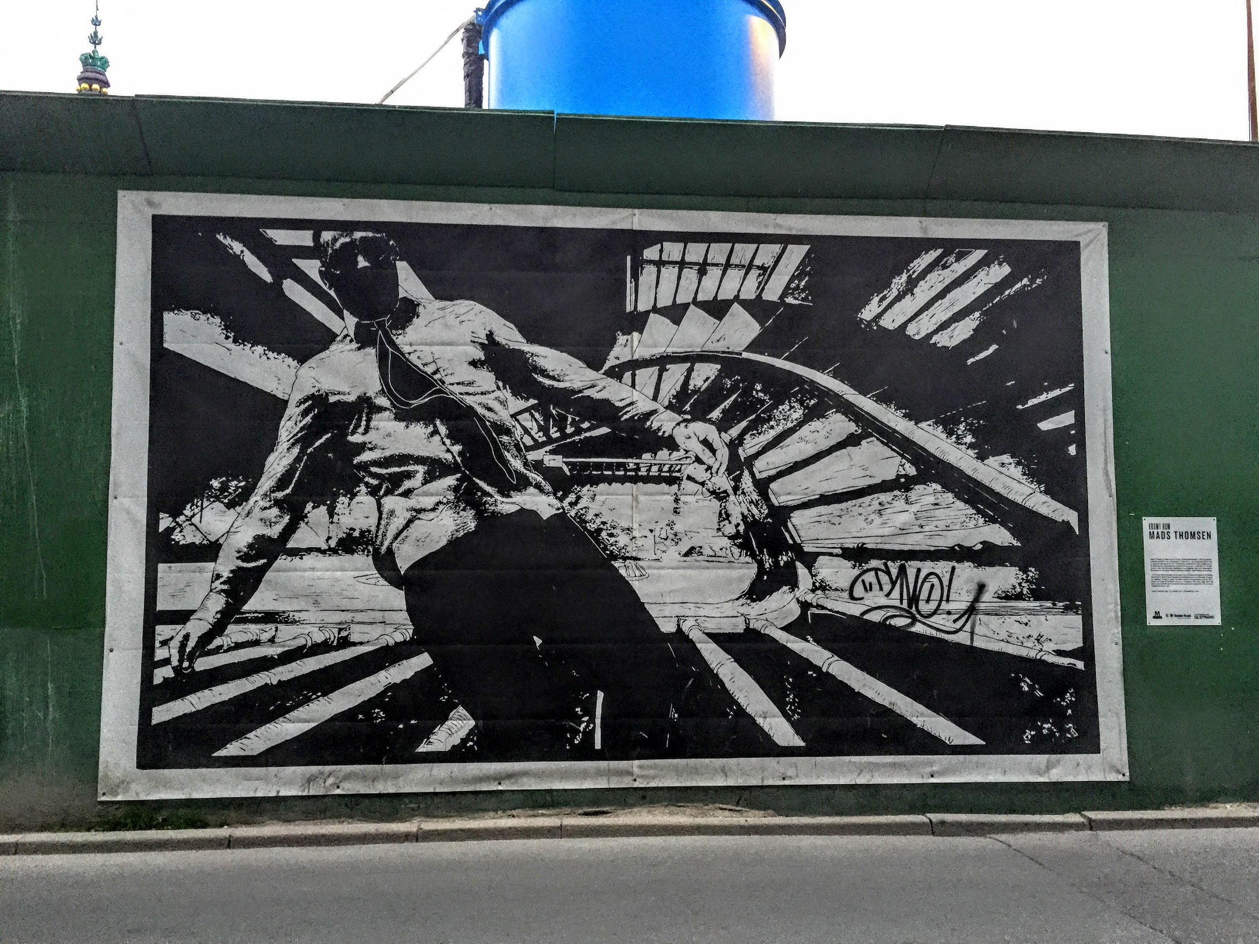 Love that this was put up on a temporary wall used to block off construction // Stockholm, Sweden