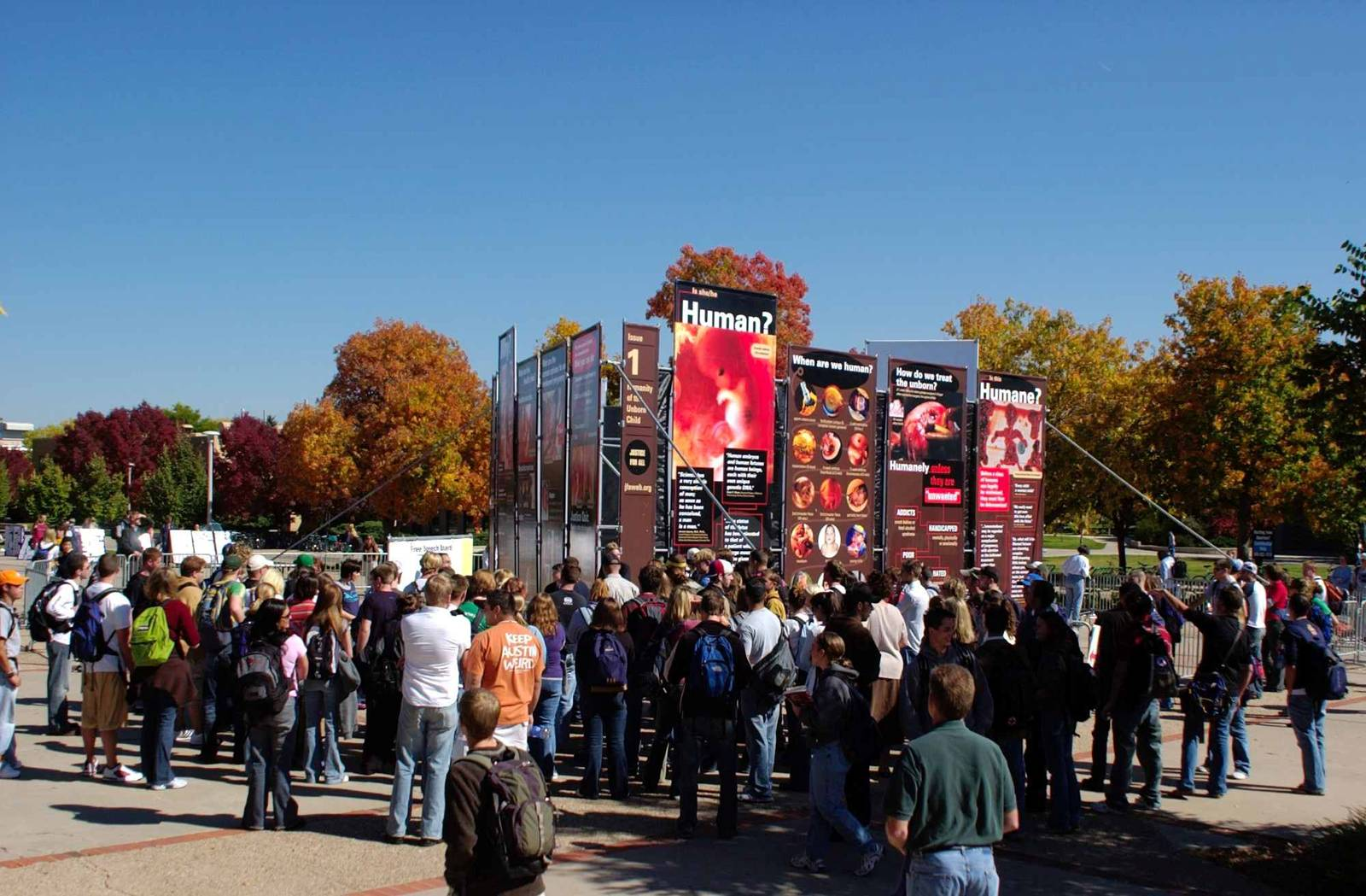 The Justice For All Exhibit draws a crowd and creates many opportunities for conversations for Focus on the Family Institute students and other JFA volunteers at Colorado State University in 2004.