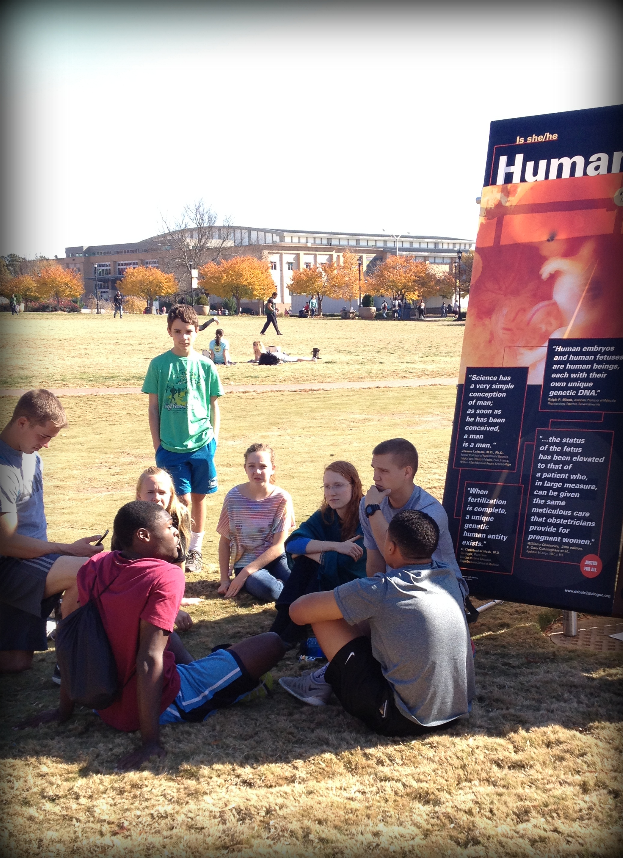 Conversations like this one, at Kennesaw State University (KSU) in November of 2014, are common at Justice For All outreach events. Often, pro-choice students stick around to talk with our staff members and volunteers for an hour or more!
