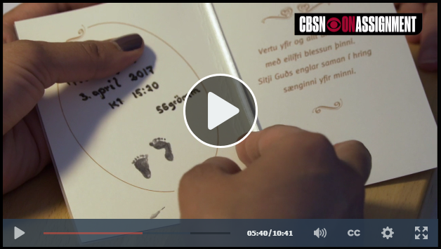 """In this portion of the CBS feature on Down syndrome in Iceland, the reporter looks at footprints of an aborted child imprinted next to a prayer as she speaks with a hospital worker who counsels women through their abortion decisions. The counselor states, """"We don't look at abortion as murder..."""""""