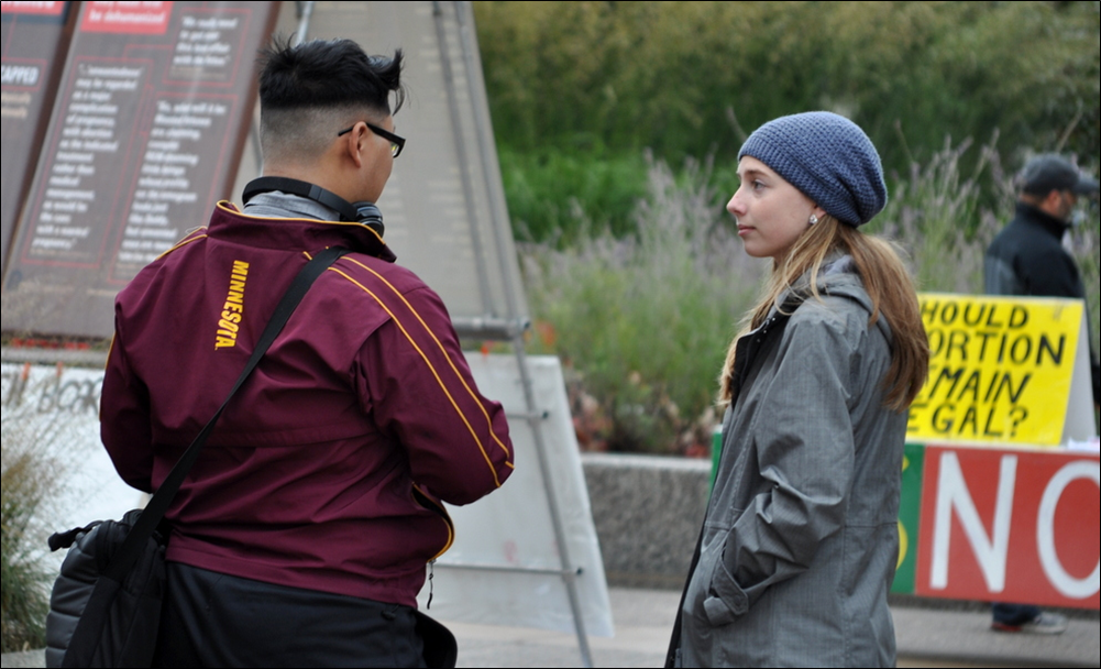 JFA Intern Susanna Buckley (right), who authored this report, at JFA's University of Minnesota (UMN) outreach in October