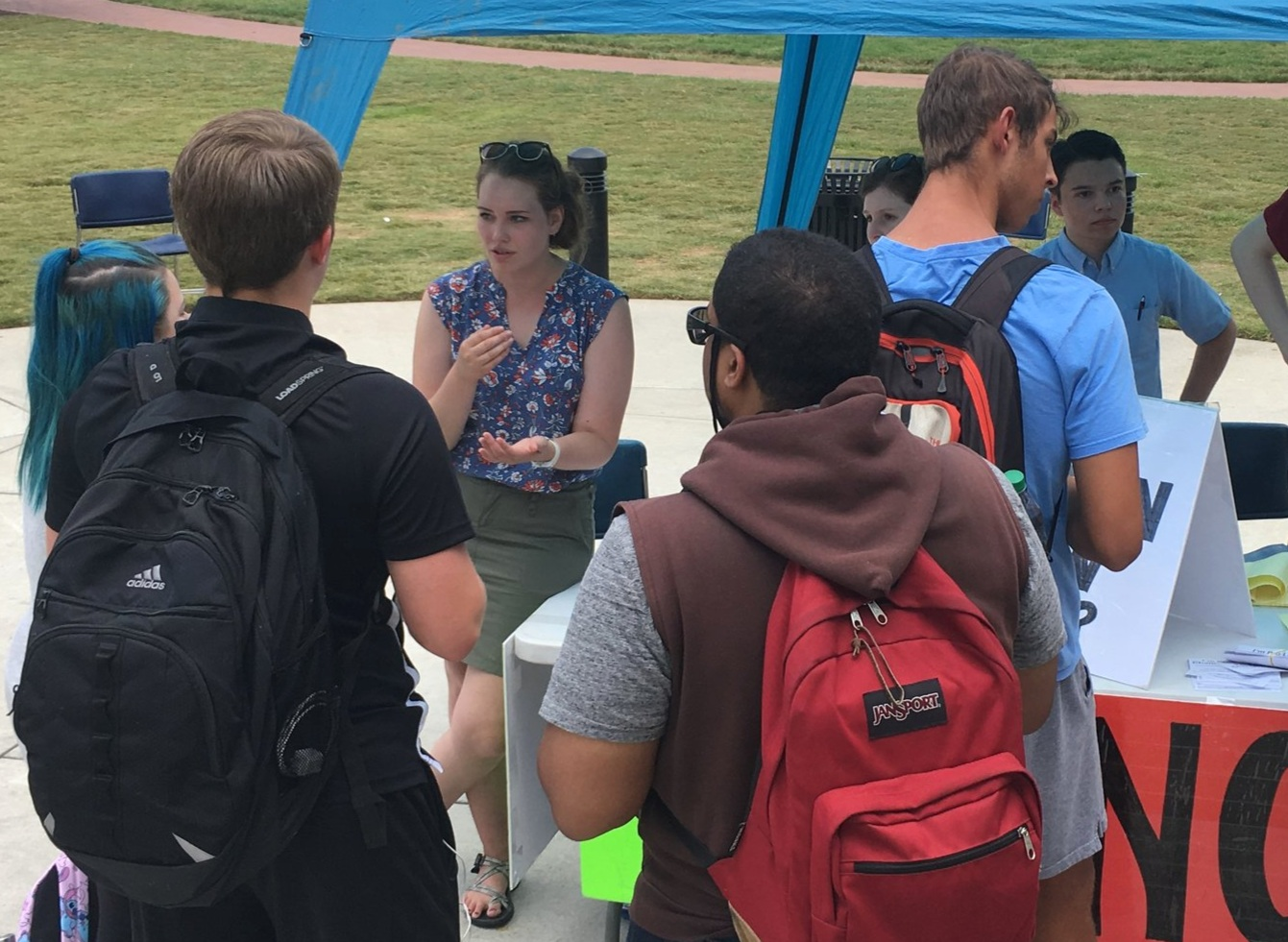 This was a group conversation at JFA's Kennesaw State University outreach in August. There were so many students wanting to weigh in on our poll table question that you can't even see it in this photo!