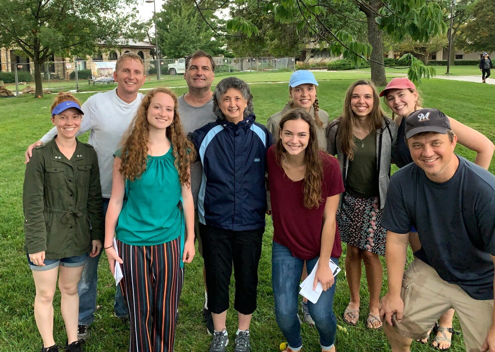 Thursday (KU): JFA staff members and volunteers paused for a quick photo at the end of our second outreach day at KU. Among them are three Benedictine students who traveled more than an hour each way to spend about an hour at KU with our team.
