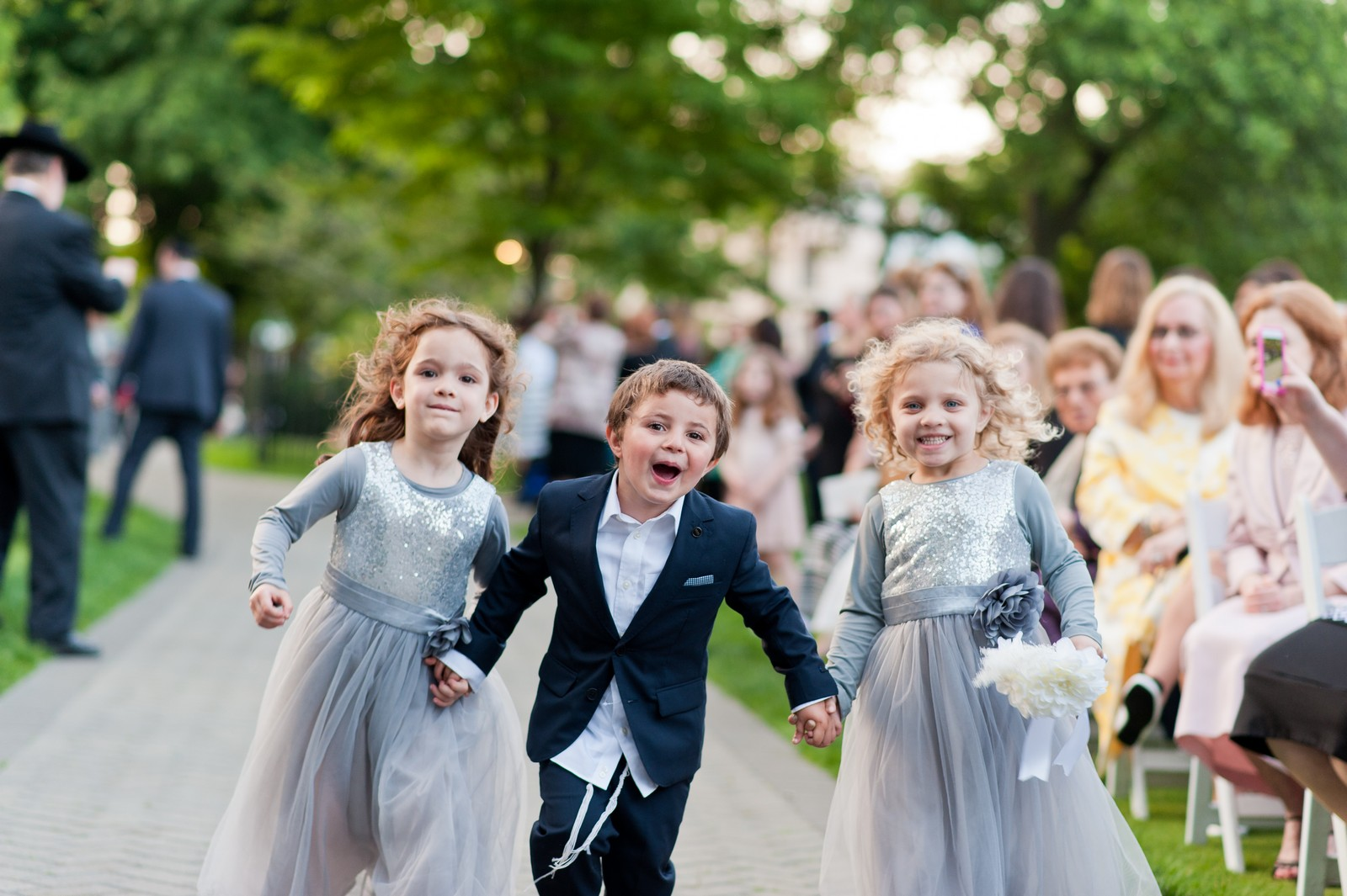 Orthodox Jewish Wedding, Dyker Beach Park and Golf Course, Brooklyn, New York, Photo by Chaim Schvarcz, Walking down the isle, nephews, neices, family