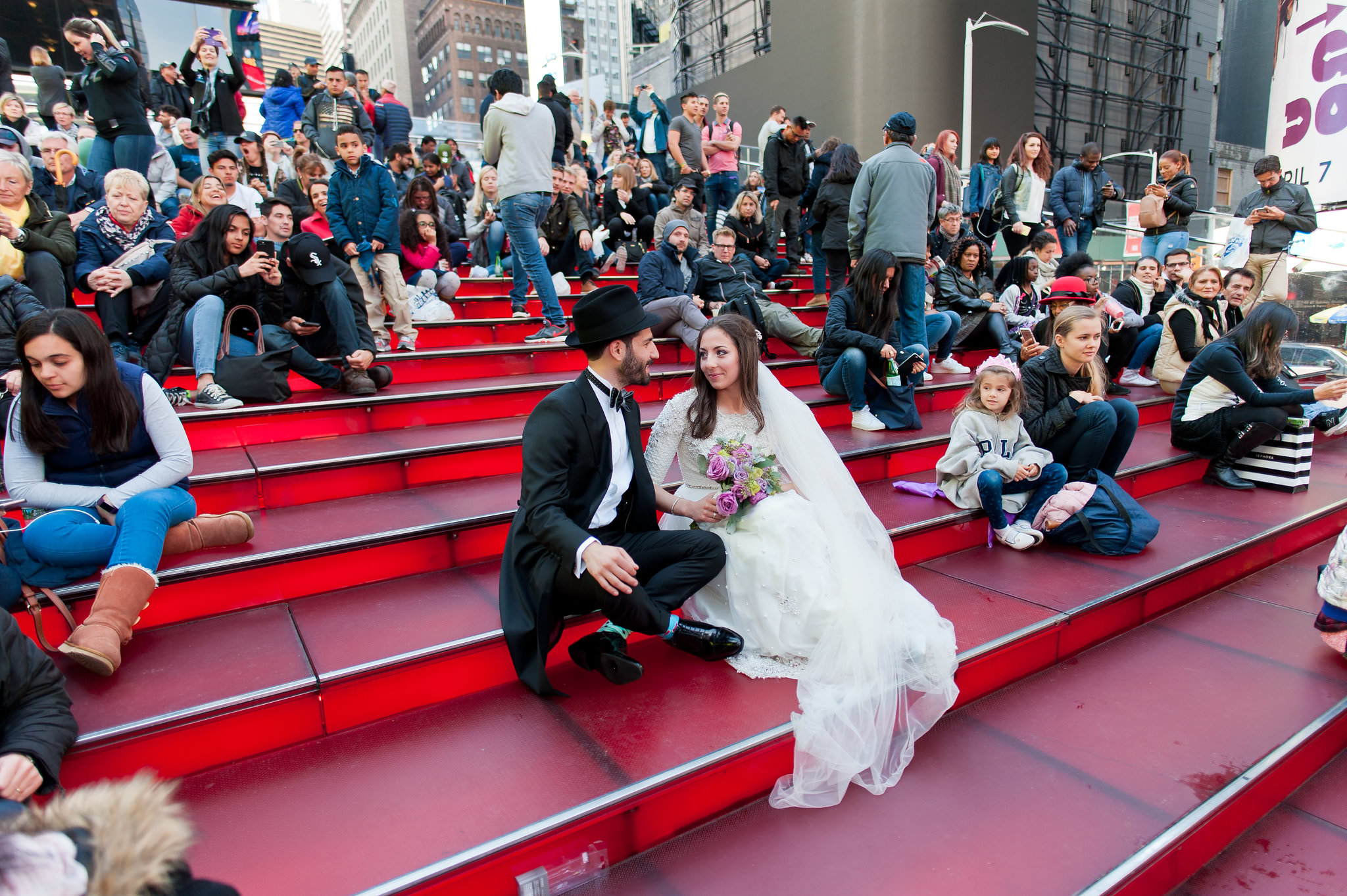 Historic Chabad Orthodox Jewish Wedding in Times Square Manhattan New York NYC Photo by Chaim Schvarcz, bride, groom