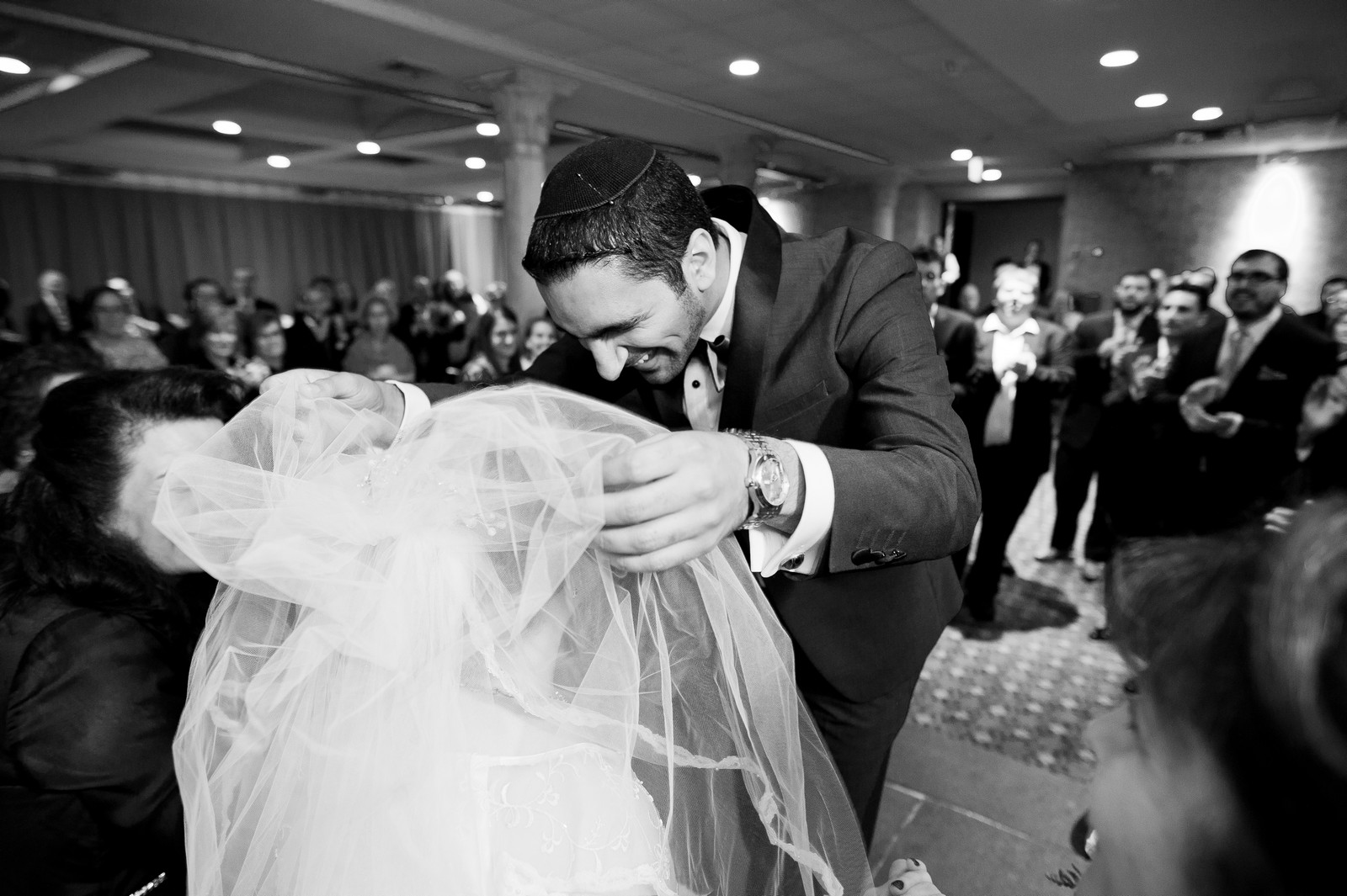 Sam and Yishai's Modern Orthodox Jewish Wedding at Crest Hollow Country Club, Woodbury NY, Photos by Chaim Schvarcz, Bride, Groom, Bedeken