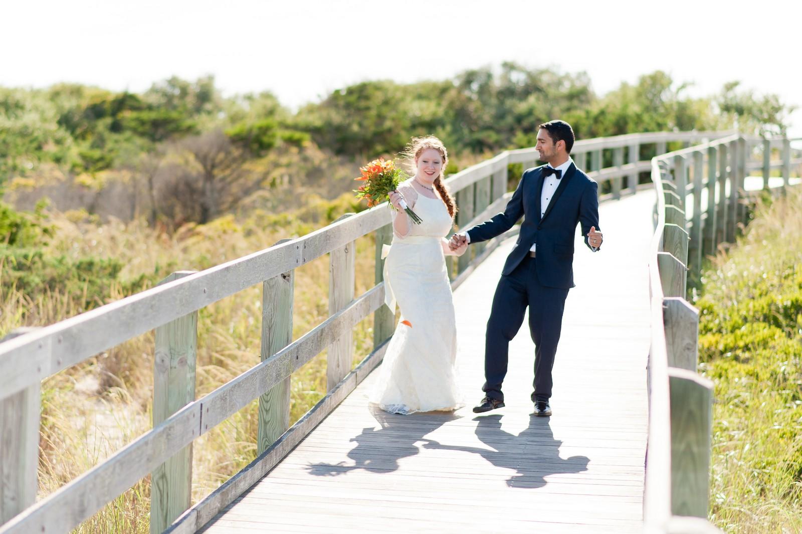 Sam and Yishai's Modern Orthodox Jewish Wedding at Crest Hollow Country Club, Woodbury NY, New York Photos by Chaim Schvarcz, Couple Portraits, Bride, Groom, Beach, Fire Island, Long Island