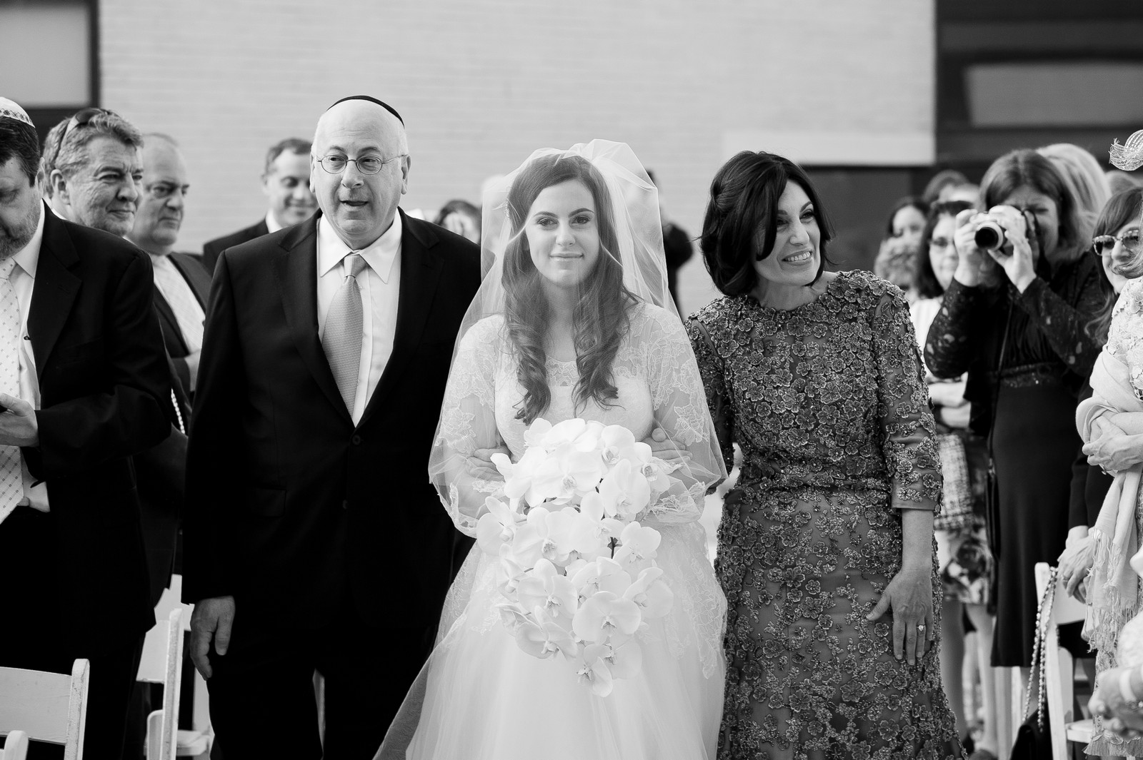 Josh and Michelle's Modern Jewish Wedding at Congregation Keter Torah, Teaneck, New Jersey Photos by Chaim Schvarcz, Chuppah, Bride, Down the Isle