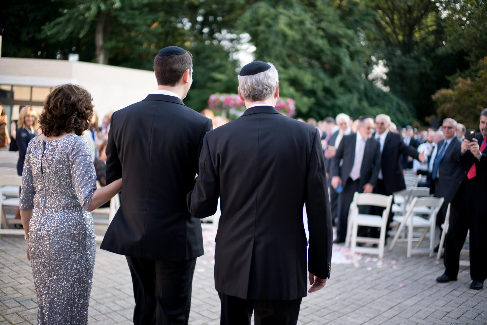 Josh and Michelle's Modern Jewish Wedding at Congregation Keter Torah, Teaneck, New Jersey Photos by Chaim Schvarcz, Groom, Chuppah, Walking