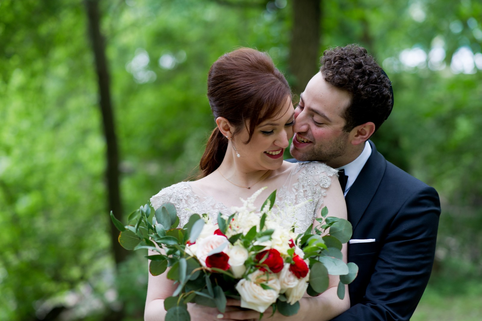 Yoey and Aaron's Memorial Day Modern Jewish Wedding at Anthony's Pier 9, New Windsor, NY Photos by Chaim Schvarcz bride groom portraits couple flowers gown suit