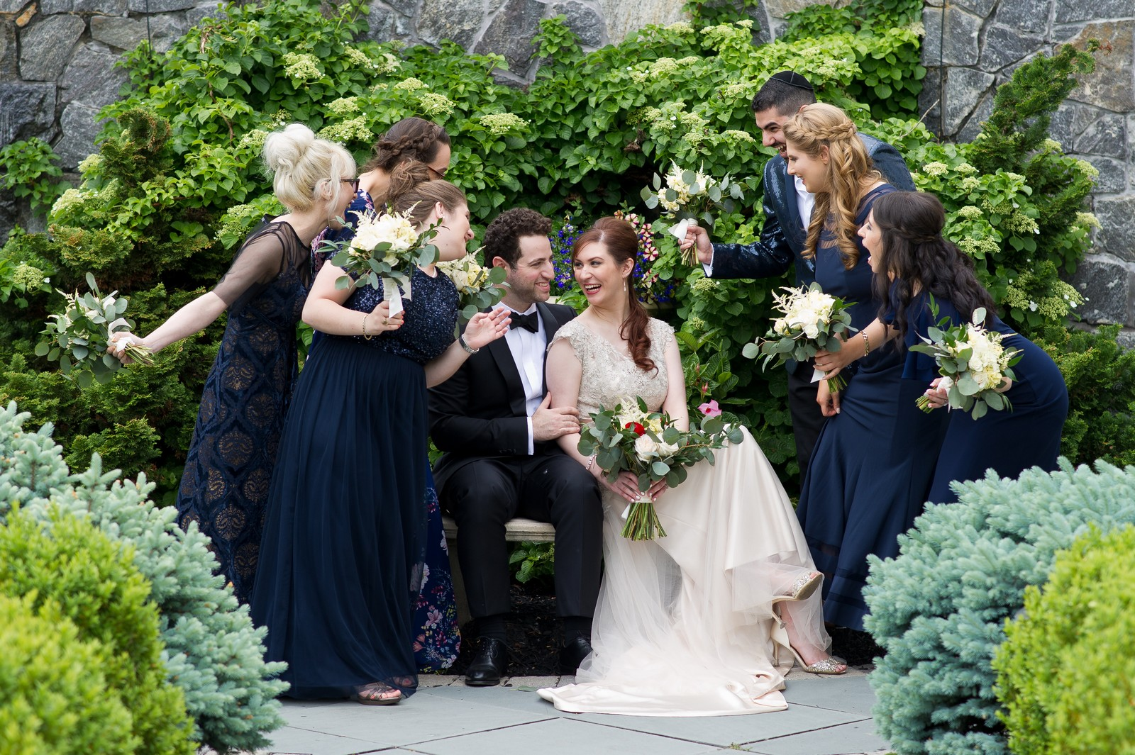 Yoey and Aaron's Memorial Day Modern Jewish Wedding at Anthony's Pier 9, New Windsor, NY Photos by Chaim Schvarcz bride groom bridesmaids portraits