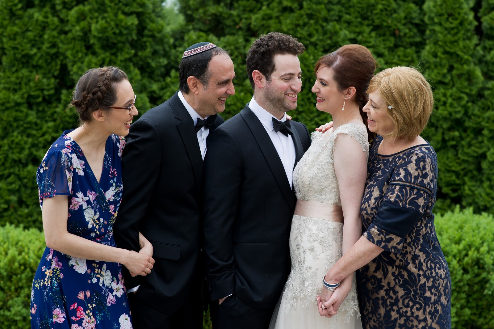 Yoey and Aaron's Memorial Day Modern Jewish Wedding at Anthony's Pier 9, New Windsor, NY Photos by Chaim Schvarcz bride family portraits