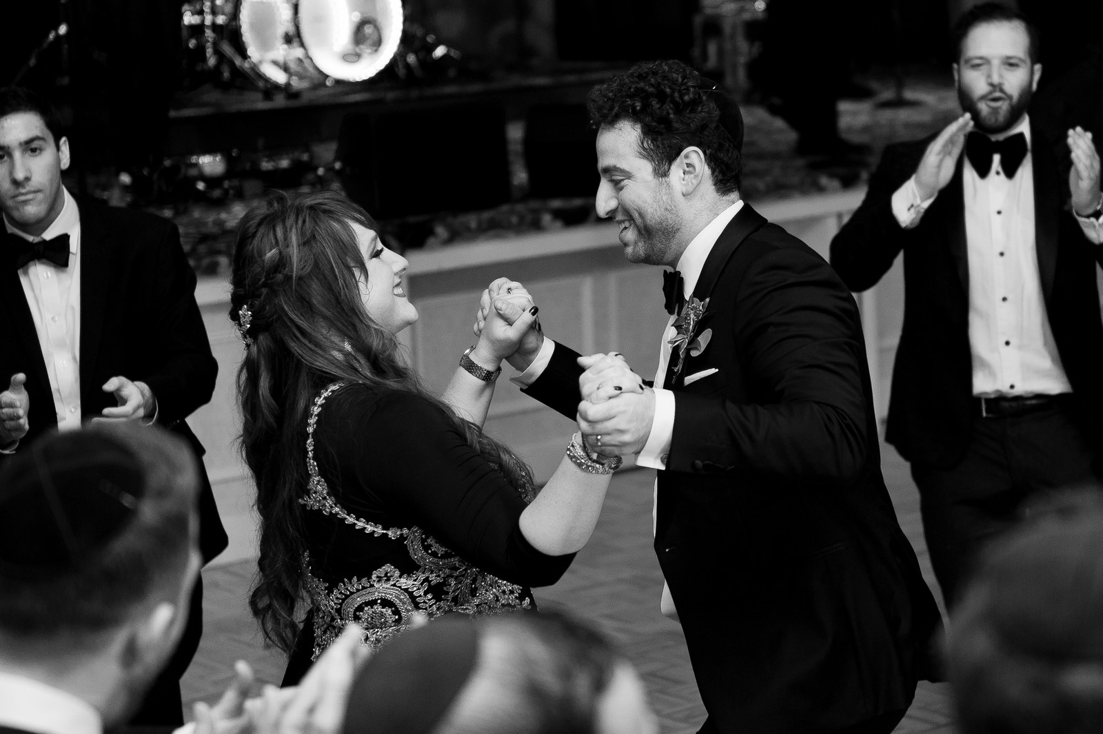 Yoey and Aaron's Memorial Day Modern Jewish Wedding at Anthony's Pier 9, New Windsor, NY Photos by Chaim Schvarcz mother son groom dance