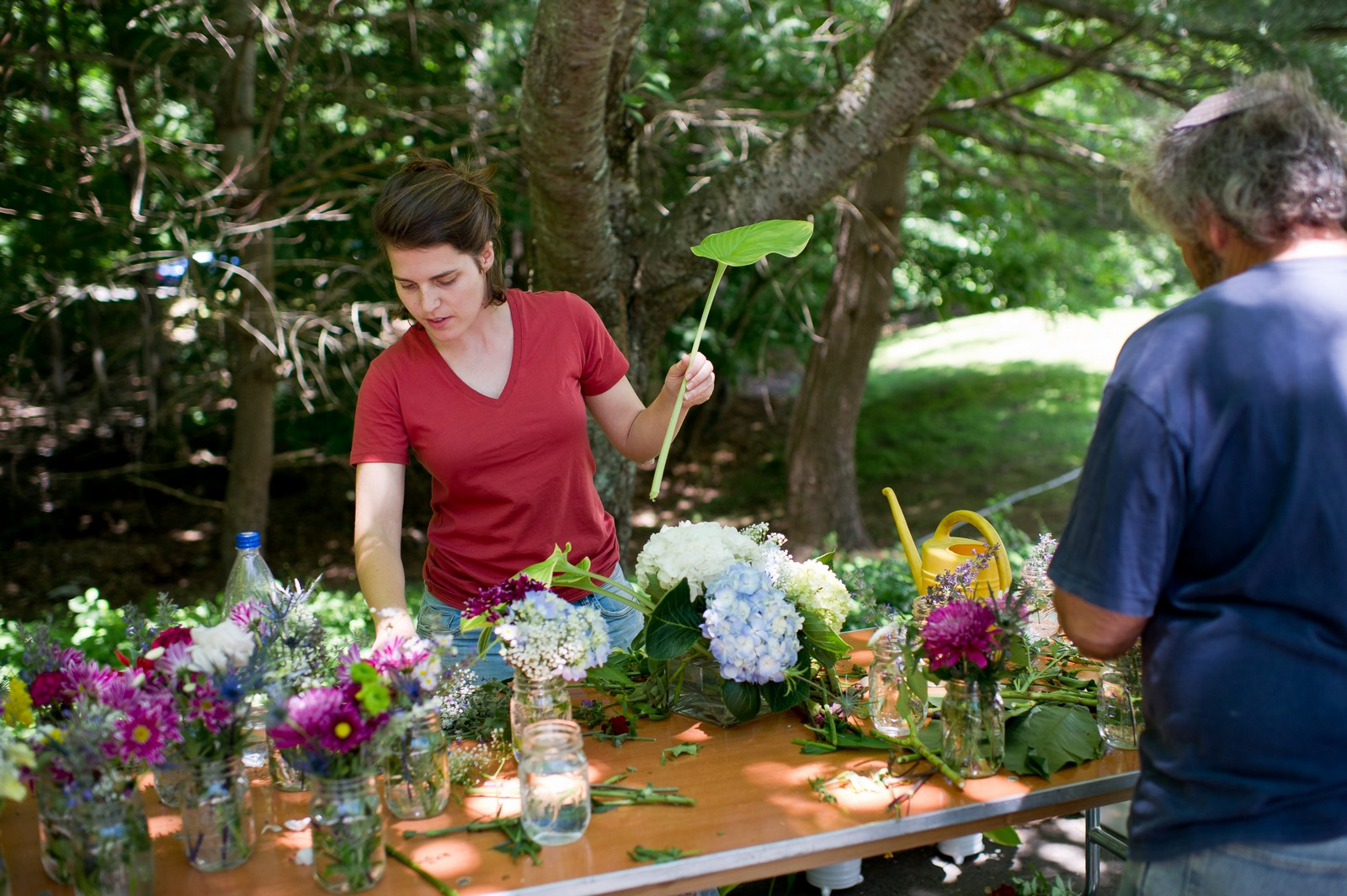 Ma'ayan and Mikey's Traditional Jewish Backyard Wedding in Fairfield, CT Photos by Chaim Schvarcz flowers prep family
