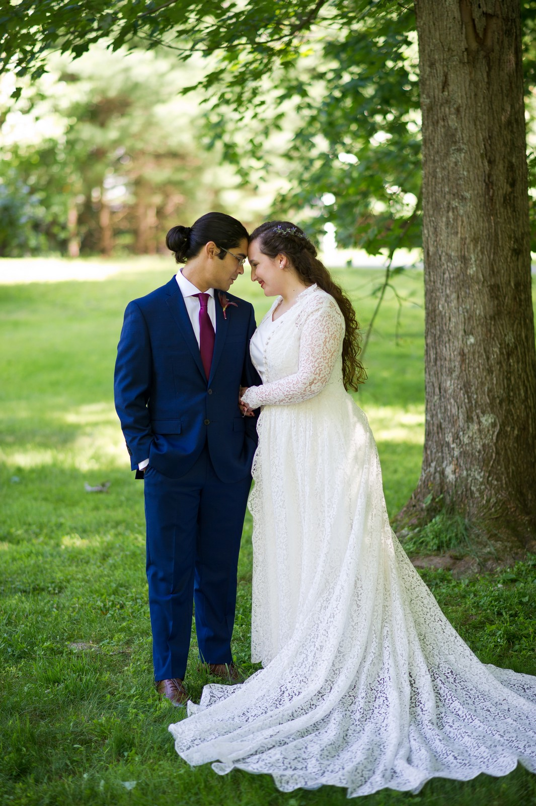 Ma'ayan and Mikey's Traditional Jewish Backyard Wedding in Fairfield, CT Photos by Chaim Schvarcz bride groom portraits