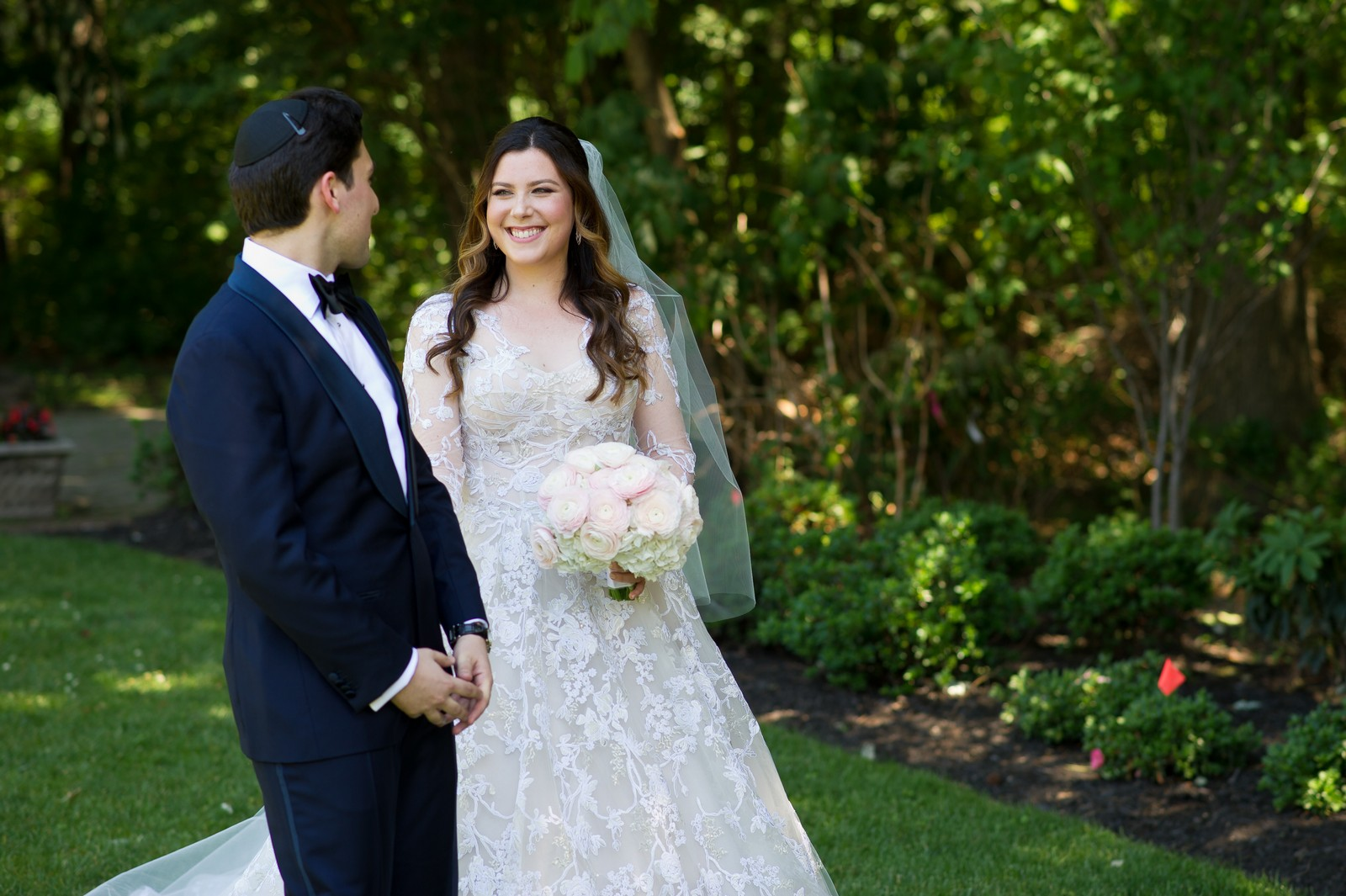 Abby and Miles' Modern Jewish Wedding at Nicotra's Ballroom, Hilton Garden Inn, Staten Island, NY, Photos by Chaim Schvarcz bride groom first look portraits