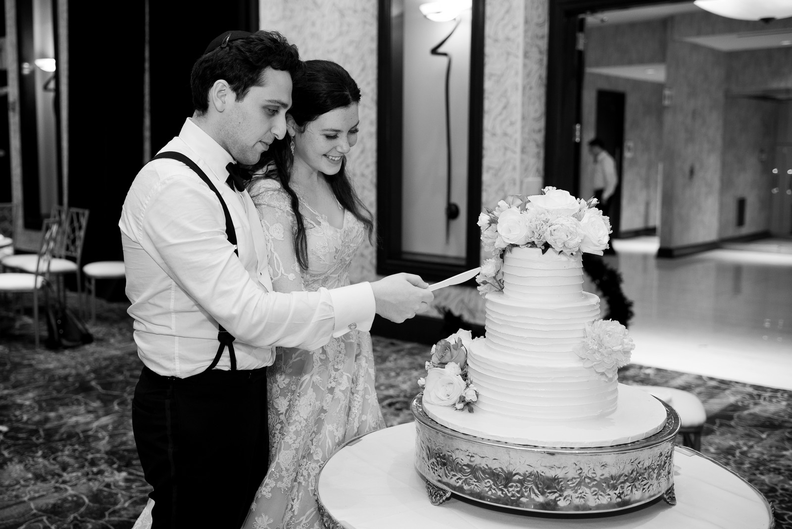 Abby and Miles' Modern Jewish Wedding at Nicotra's Ballroom, Hilton Garden Inn, Staten Island, NY, Photos by Chaim Schvarcz bride groom cake