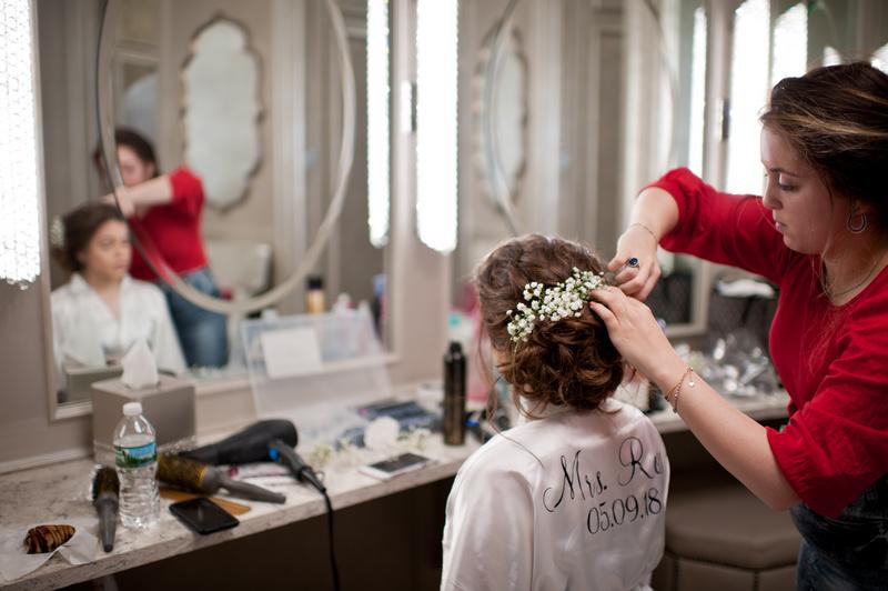 Danna and Eitan's Modern Orthodox Jewish Wedding at The Sands, Atlantic Beach, NY Photos by Chaim Schvarcz bride prep portraits hair