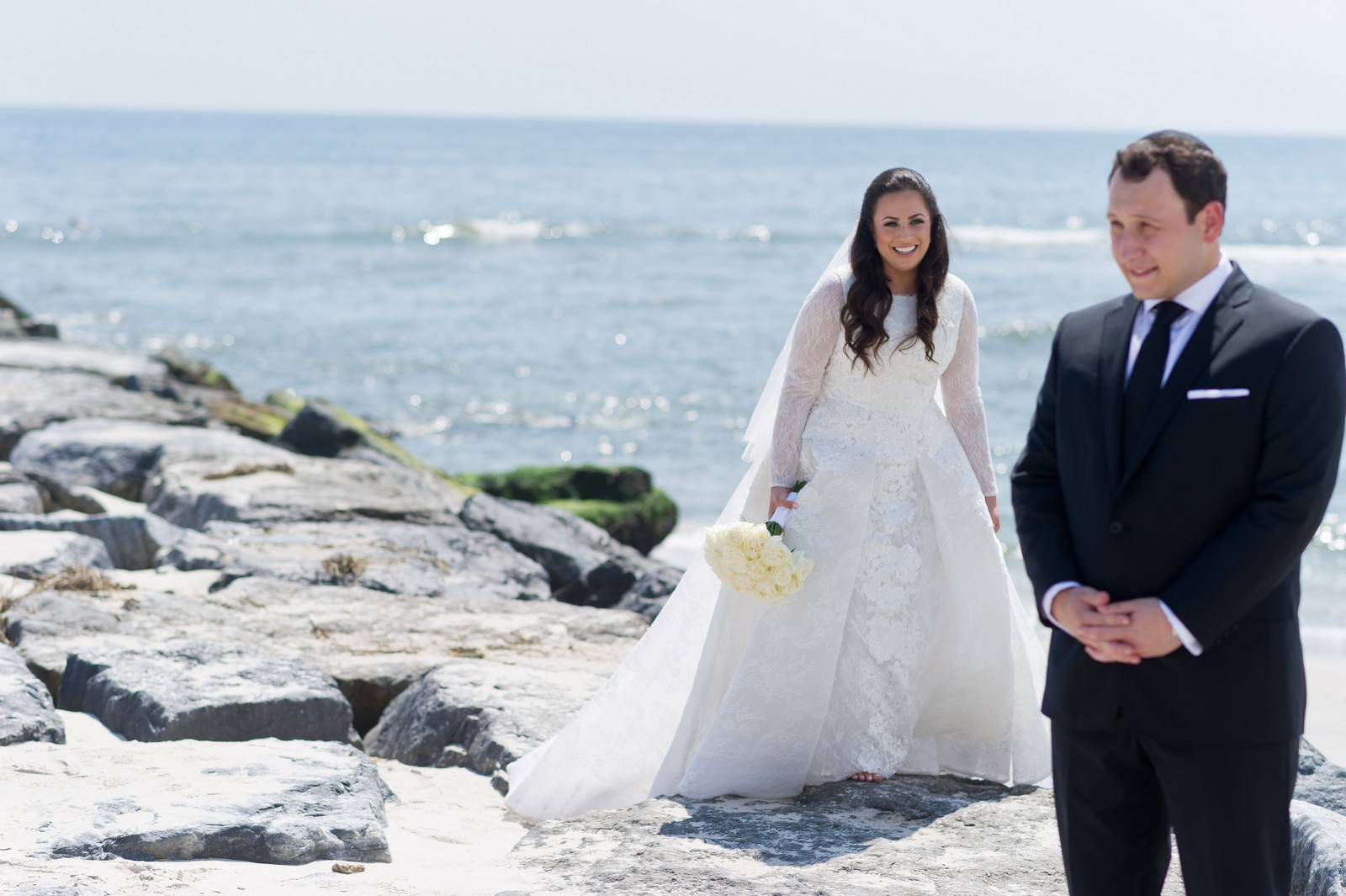 Talya and Michael's Modern Orthodox Jewish Wedding at The Sands, Atlantic Beach, NY Photos by Chaim Schvarcz Bride and Groom Portraits Couple