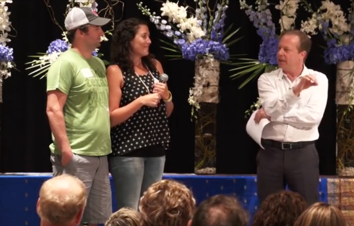 Brian and I onstage sharing our story at the Denver Advanced Meditation Workshop.
