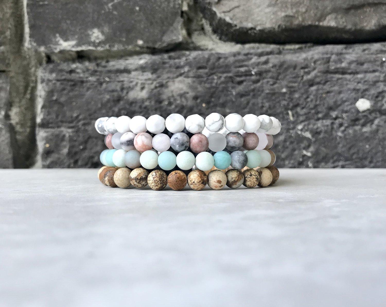 Love bracelet stack with rose quartz Creativity Sunstone and howlite Calm