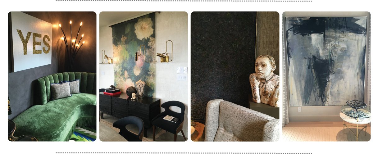 From left to right | Sitting room designed by  Nancy Evars & Dimitra Anderson  | Dining room/kitchen designed by  Martin Kobus  | Main floor study designed by  Stephan Jones  | Master Bedroom designed by  Tineke Triggs