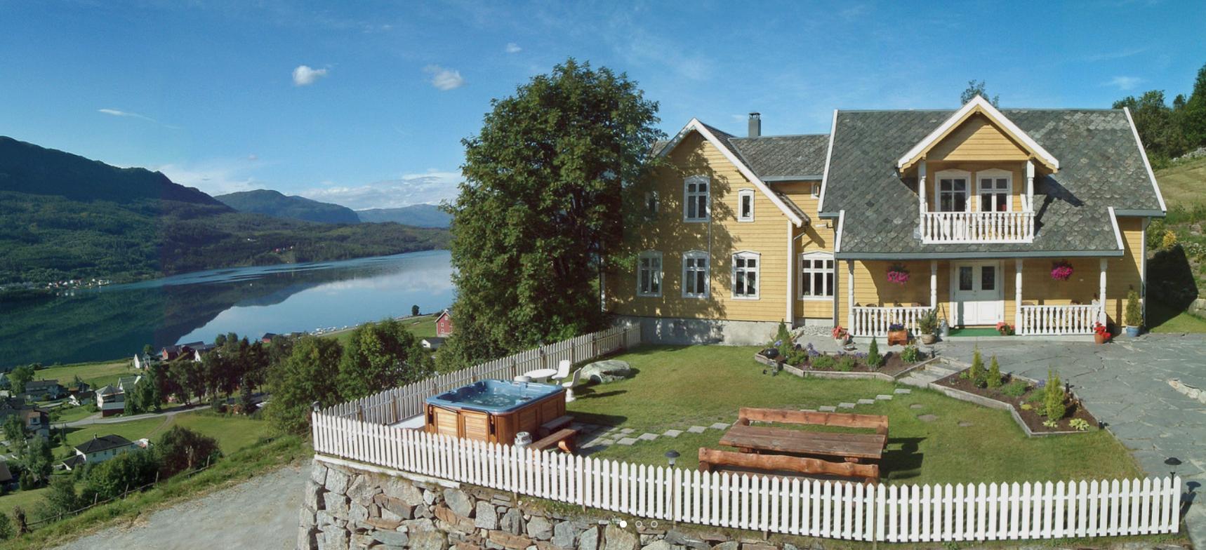 Bestebakken, overlooking the lake and village of Hafslo