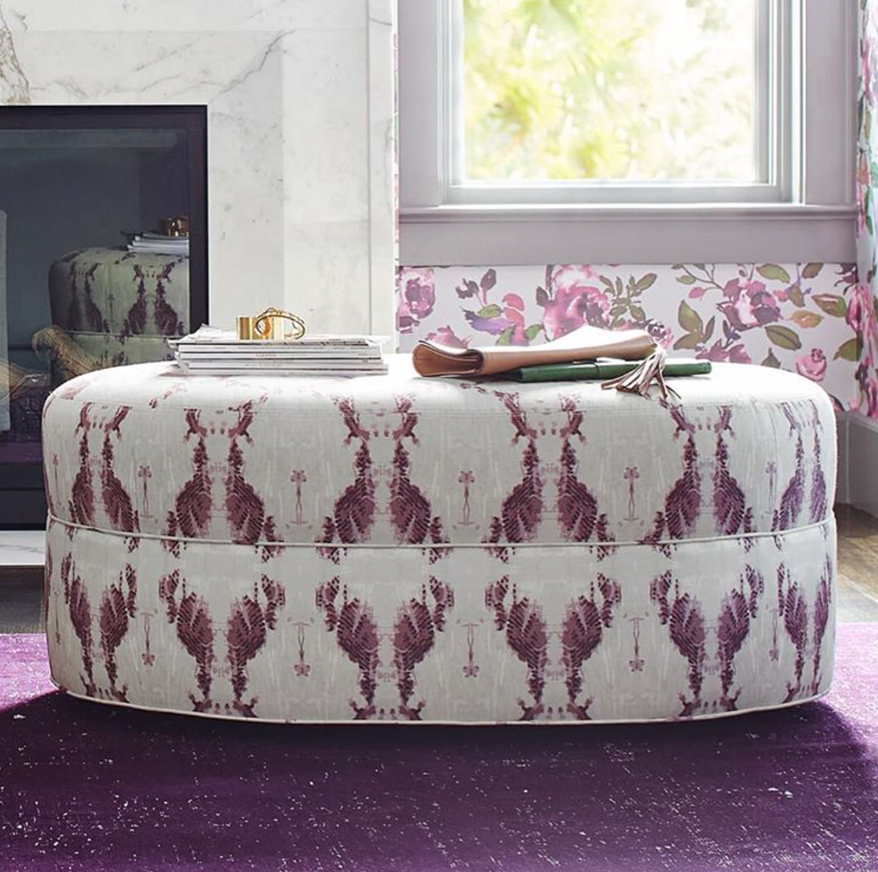 Moxiemade's Campbell Oval Ottoman upholstered in our Cascade fabric (as a COM option).